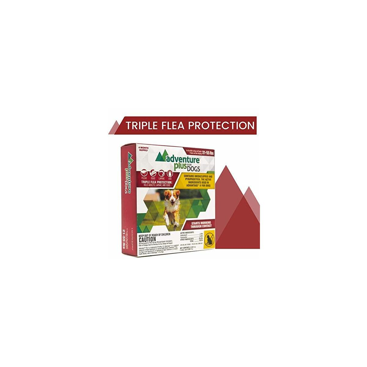 Adventure Plus Triple Flea Protection for Dogs, Large, 21-55 lbs