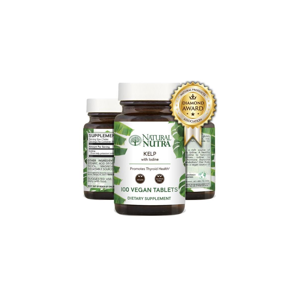 Natural Nutra Kelp Iodine Supplement, Vegan Sea Kelp, North Atlantic Sourced Seaweed Extract, 225 mcg, 100 Tablets