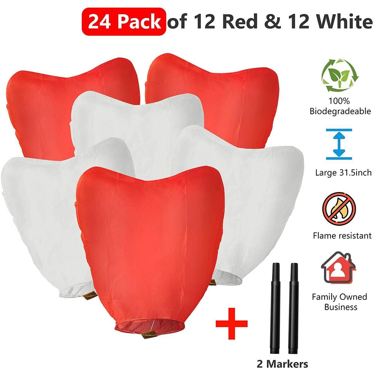 Chinese sky lanterns - 24 Pack Biodegradable Wishing Lanterns - 12 White & 12 Red Hearts