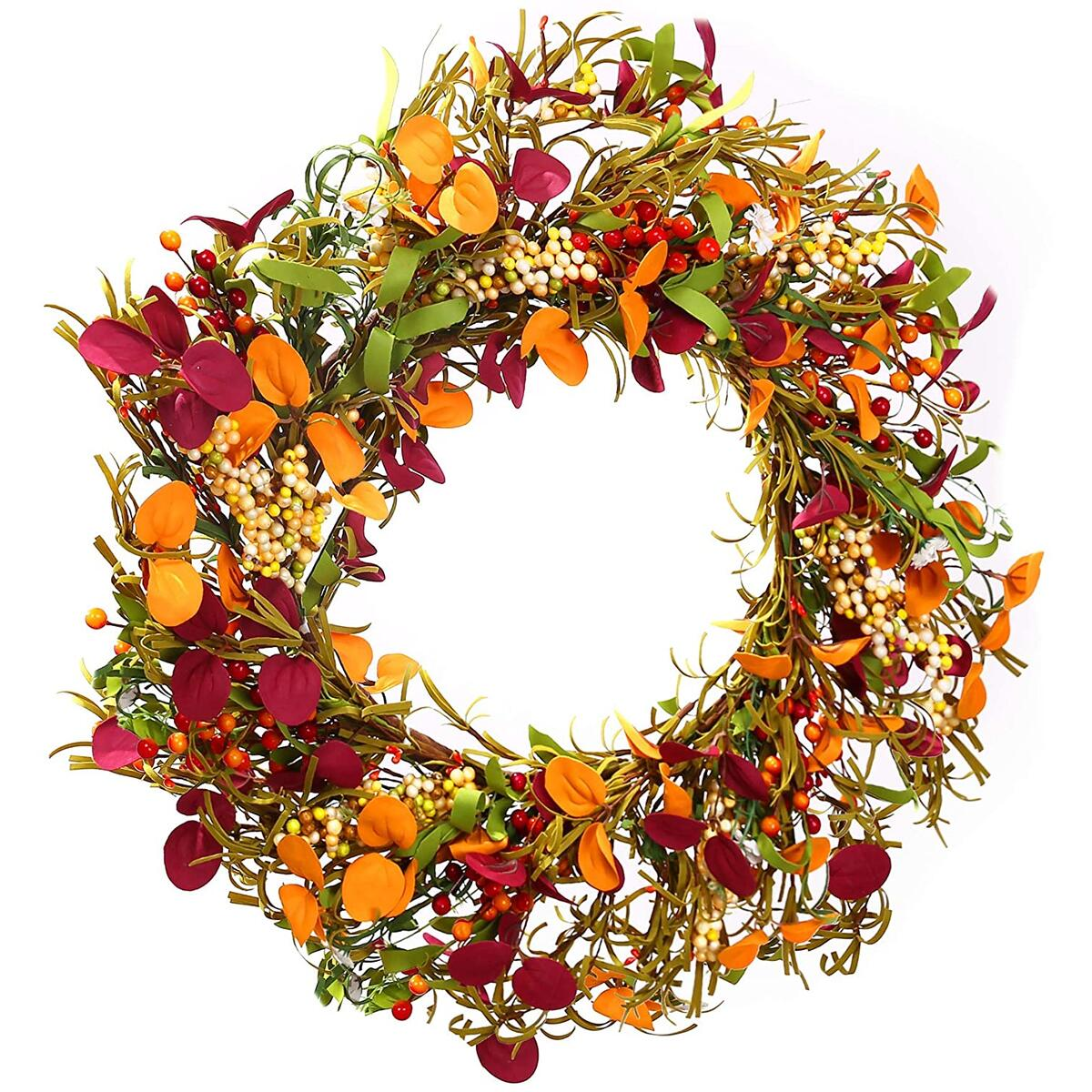 Fall Decor Door Wreath - Sunnysdady 16inch Autumn Farmhouse Wreaths for Front Door Decorations