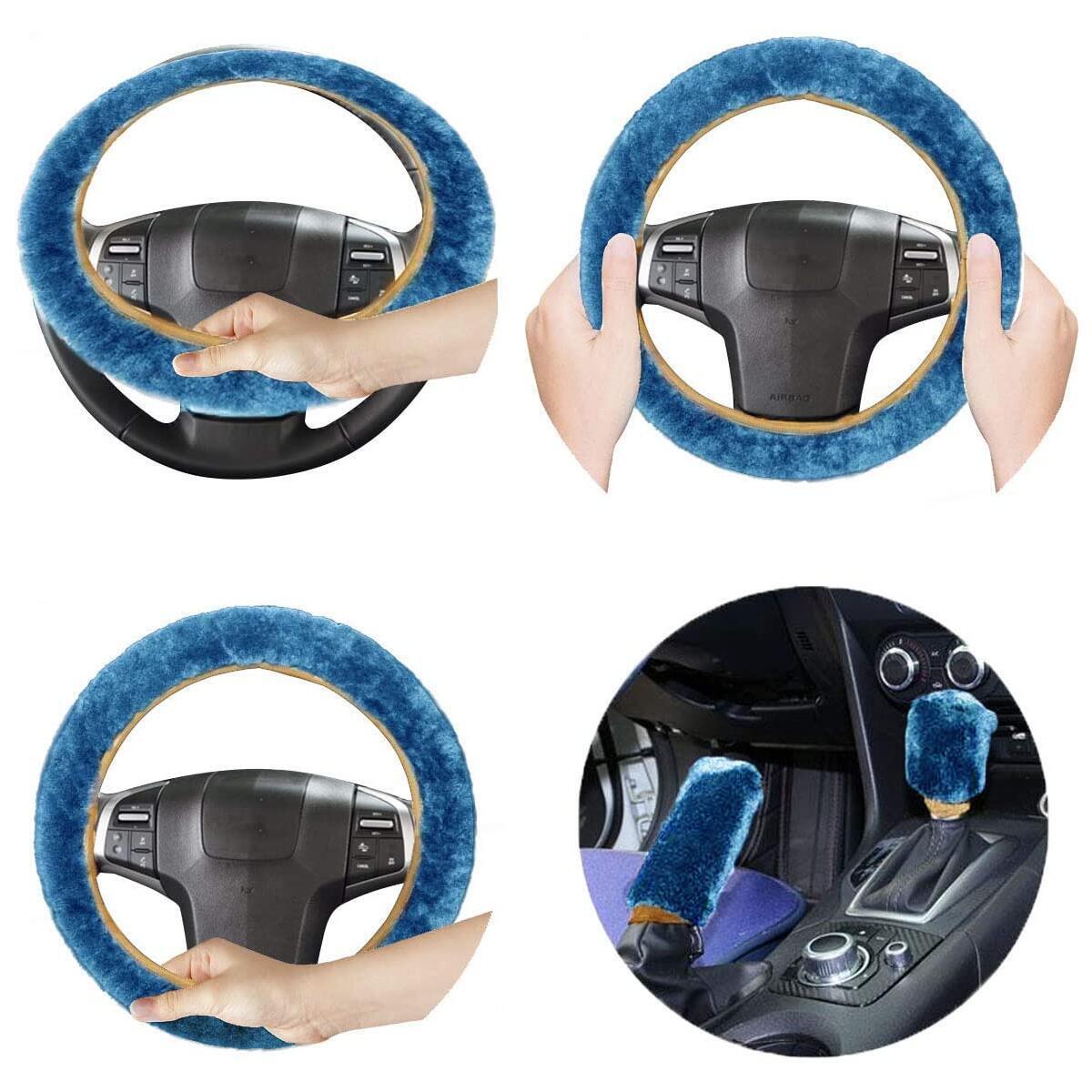 VaygWay Custom Autos Plush Faux Sheepskin Stretch- On Vehicle Steering Wheel Cover Blue Thermal Car Wheel Protector