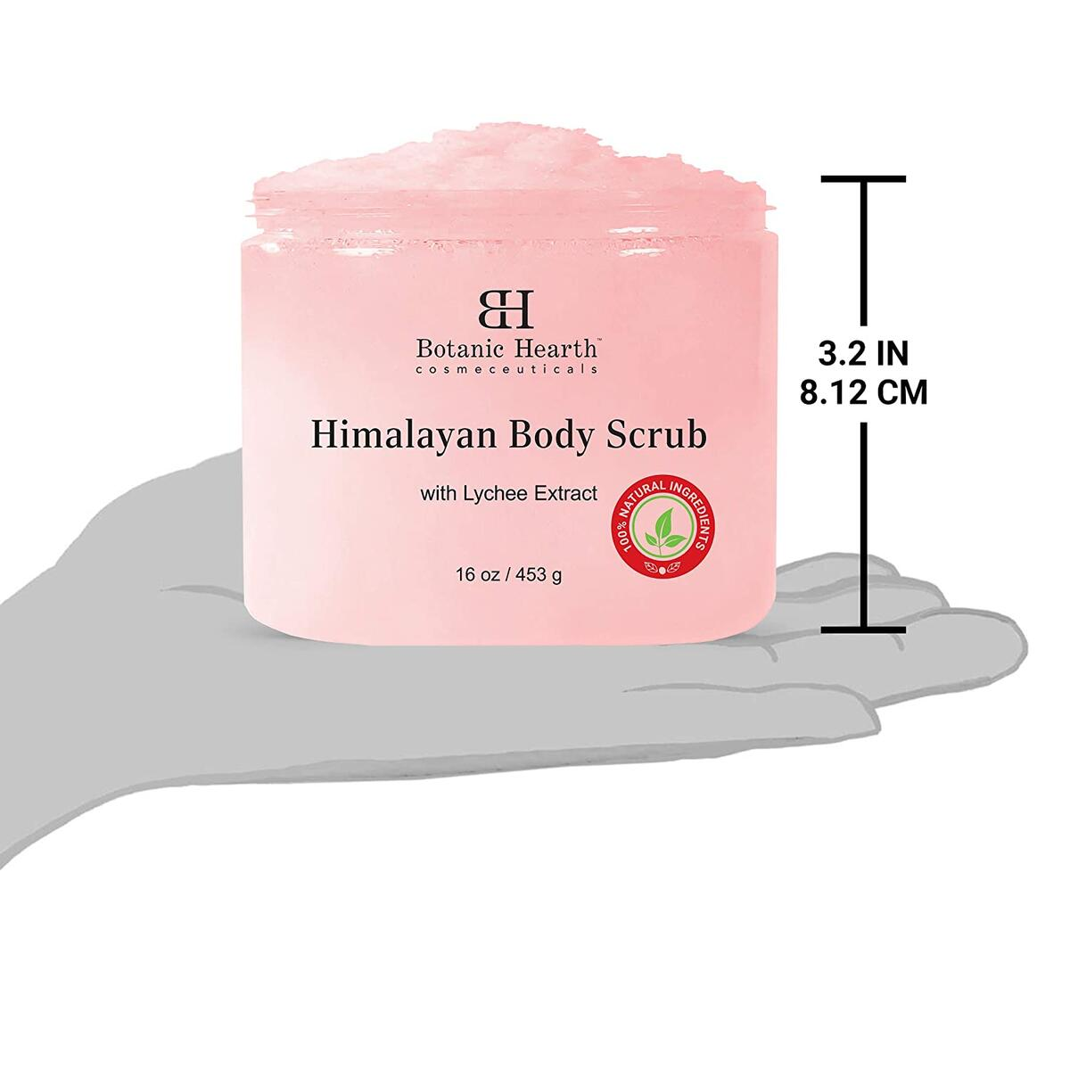 Himalayan Body Scrub - 100% Natural Exfoliating Salt Scrub - Made with Authentic Himalayan Salt - for Hydrated & Toned Skin, Fights Acne, Great Gift Item - 16 oz