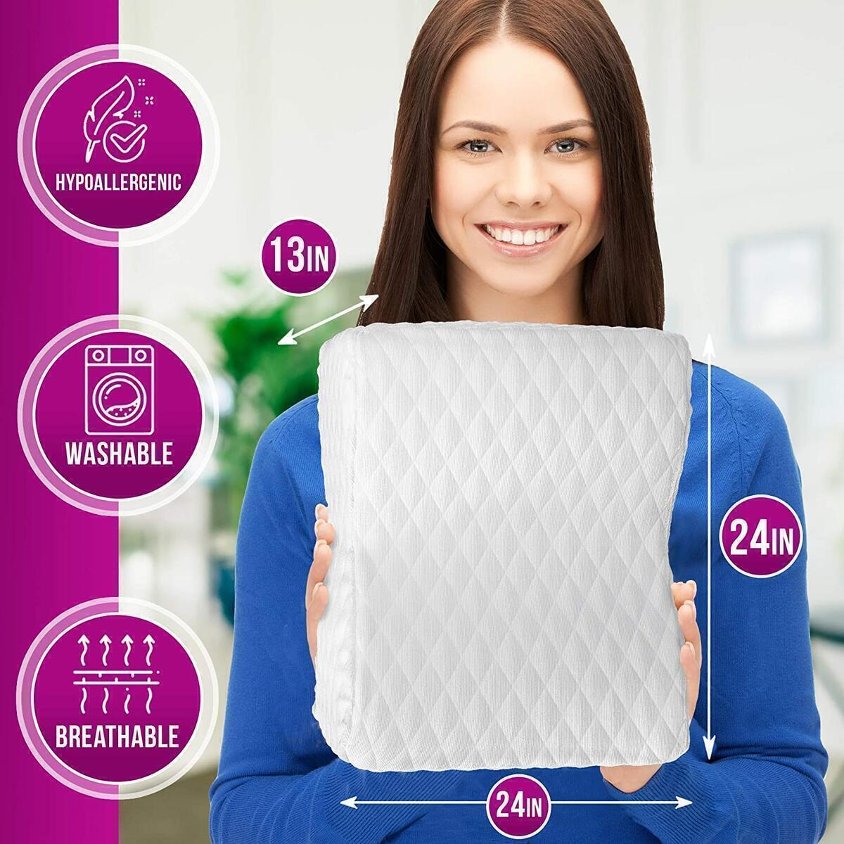 GRASSVERY Memory Foam Knee Pillow for Sleeping, Side Sleepers, Sciatica Relief, Back & Hip Pain – High Density Orthopedic Leg Pillow for Sleeping – Knee Cushion with Cooling Gel and Removable Cover