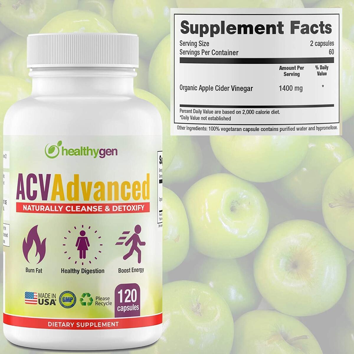 Advanced Apple Cider Vinegar Pills - Non-GMO, 120 Organic Capsule