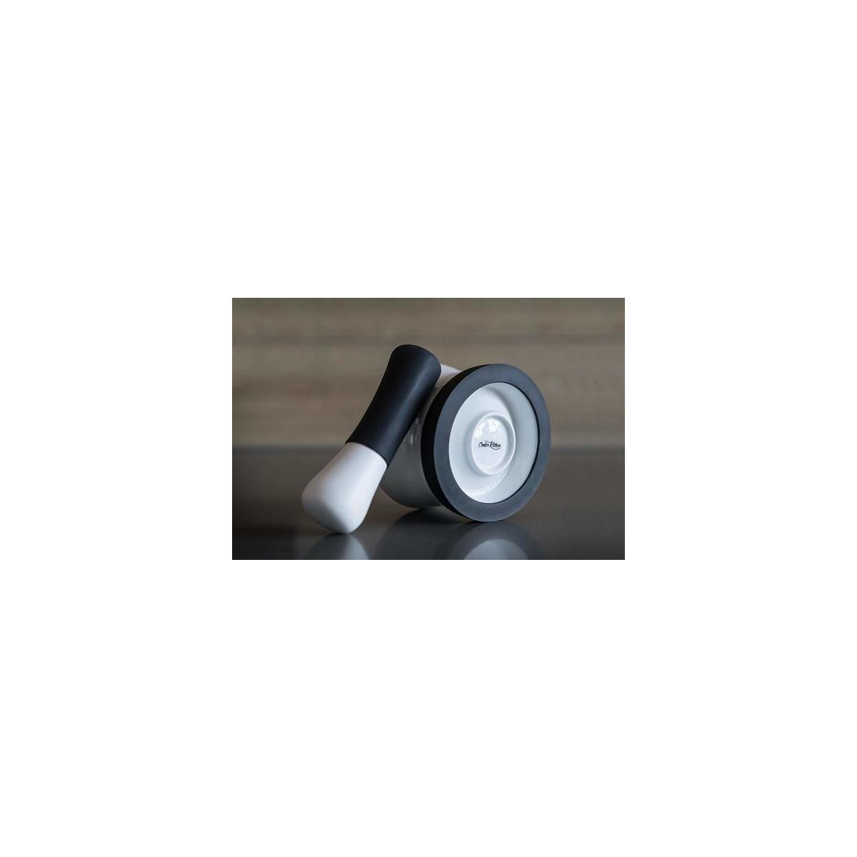 EZ-Grip Silicone & Porcelain Mortar and Pestle With Non-Slip Detachable Silicone Base - NEW DESIGN - Dishwasher Safe by Cooler Kitchen