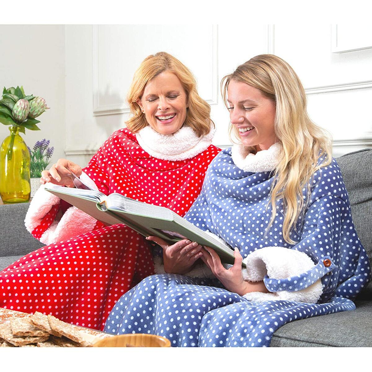CozyRosie Wearable Blanket with Sleeves for Adults Allows You to Button Up and Go - Extra Soft, Warm and Cozy Sherpa Fleece Throw Makes for a Great Gift for Mom, Dad, Grandma or Grandpa