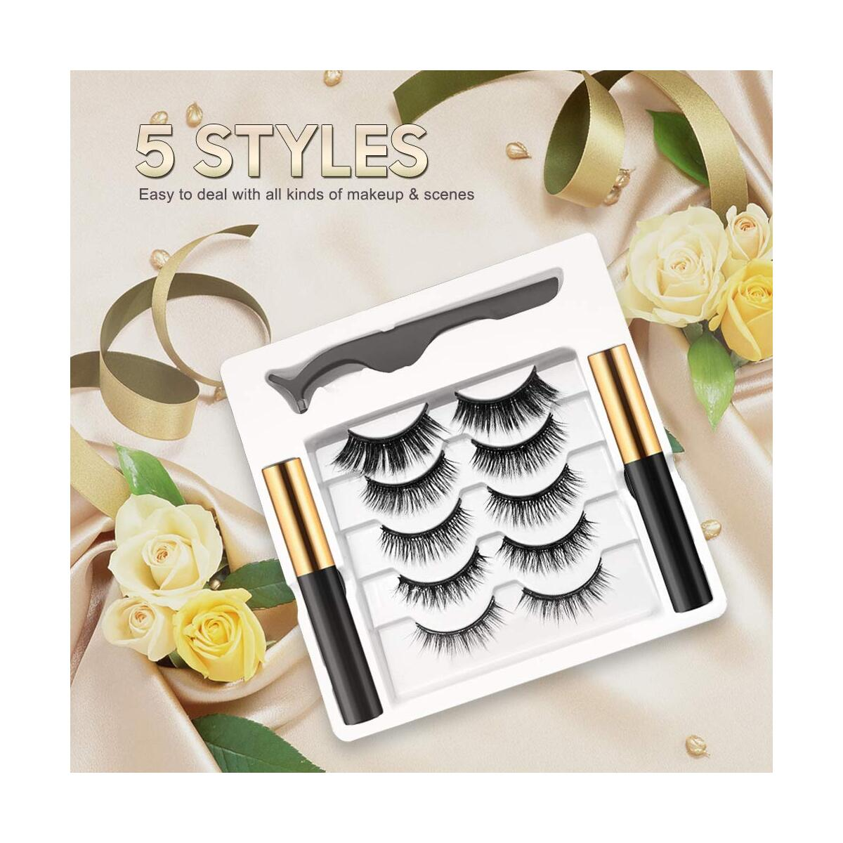 Magnetic Eyelashes with Eyeliner 5 Pairs