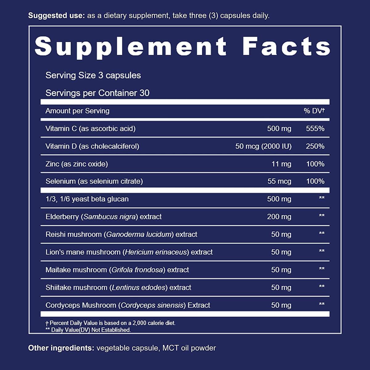 UpNourish Immune Booster with 1,3/1,6 Beta Glucan, Zinc, Black Elderberry, Vitamins C, D & Mushroom Complex