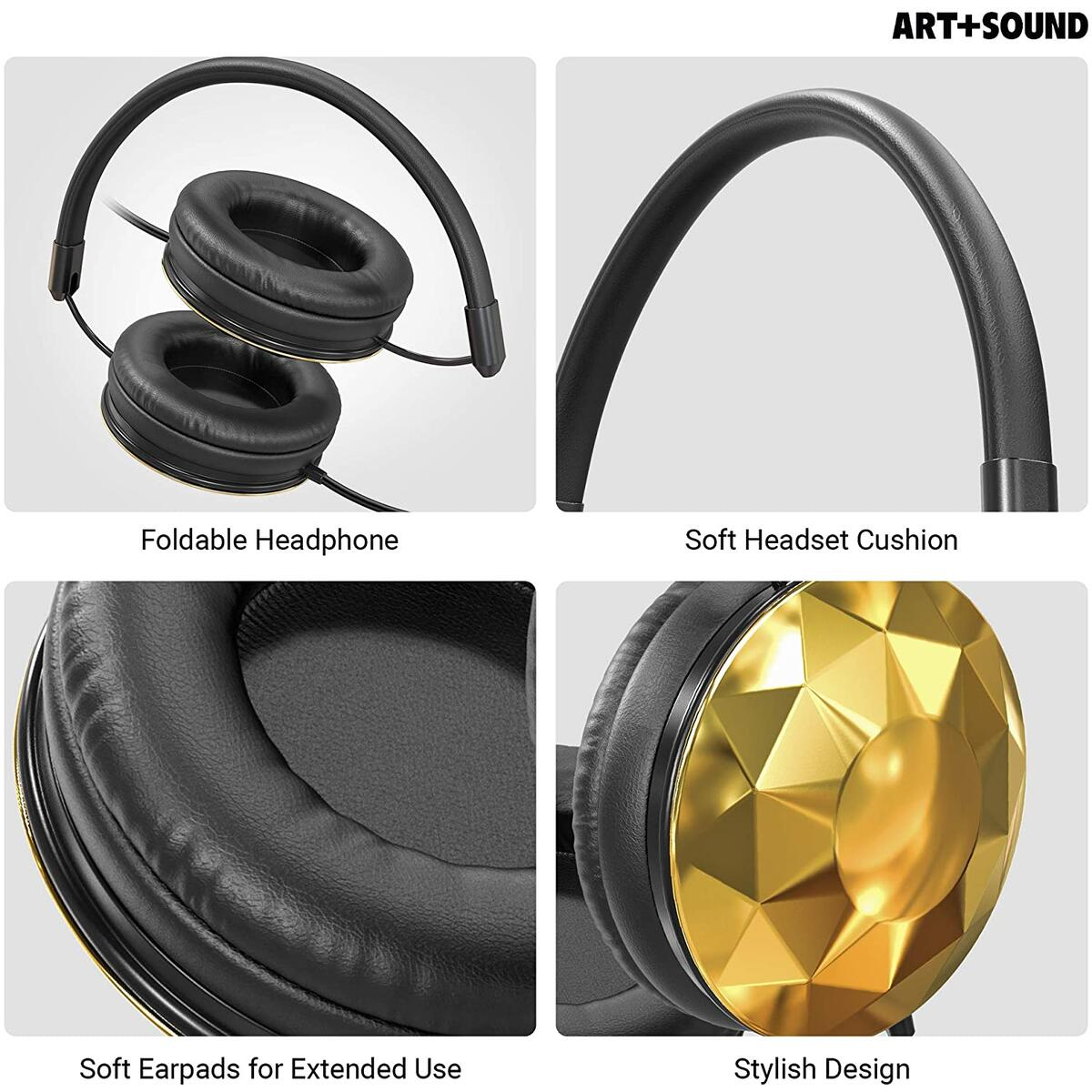 Wired Headphones by ART+SOUND, Faceted Design with Adjustable Band, Soft Cushion Pads, Foldable Design - Gold