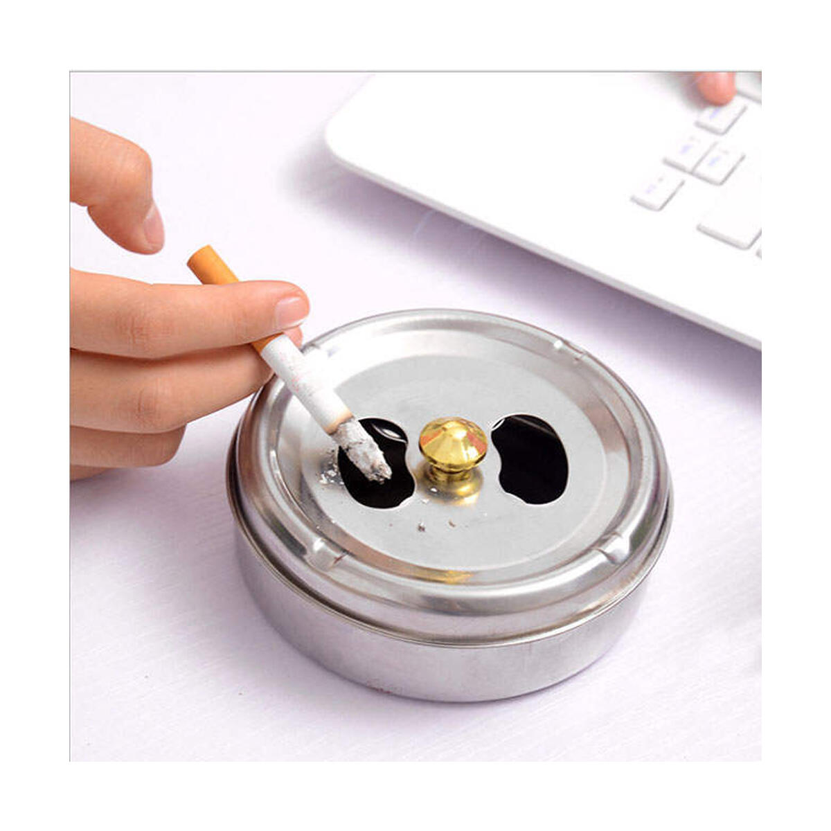 Emir&Odin Ashtray with Lid Stainless Steel Cigar Ashtrays for Cigarettes, Portable Ash Tray for Indoor or Outdoor, 4 inc Modern Tabletop Decoraiton, Cool and Windproof Home Cigar Ashtrays