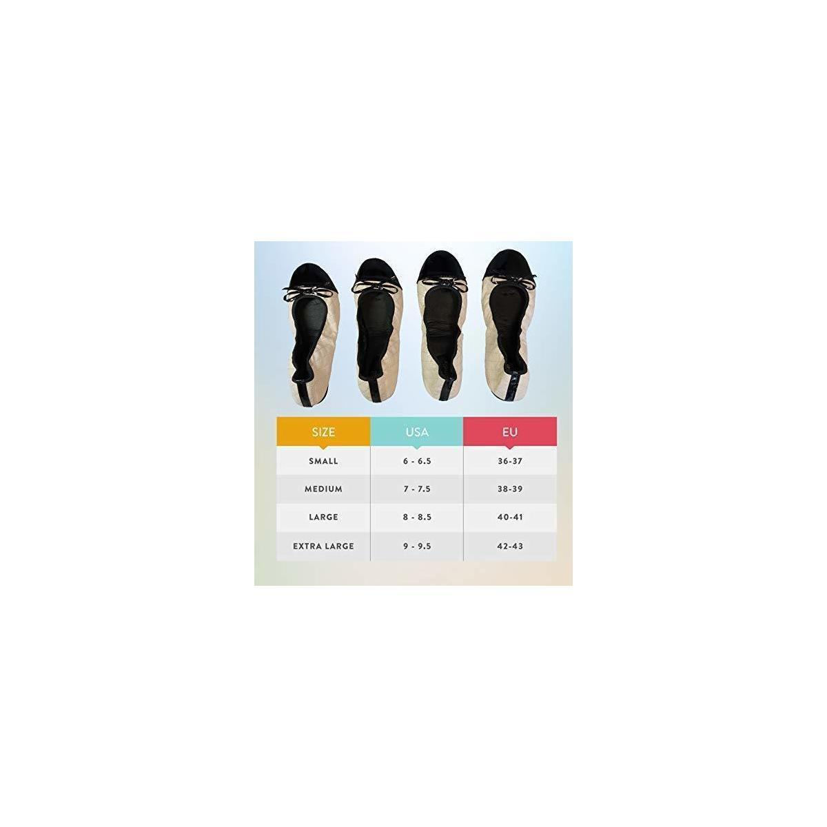 Foldable Flats for Women with Travel Pouch: Size 6 ~ 6.5