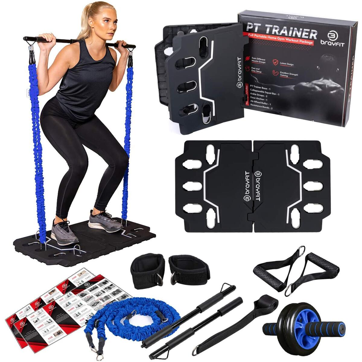 BRAYFIT Portable Home Gym Equipment 10-in-1 Full Body Workout System Including Ab Roller Wheel, Elastic Resistance Bands, Squat Bar, and Door Anchor, for a Total Gym