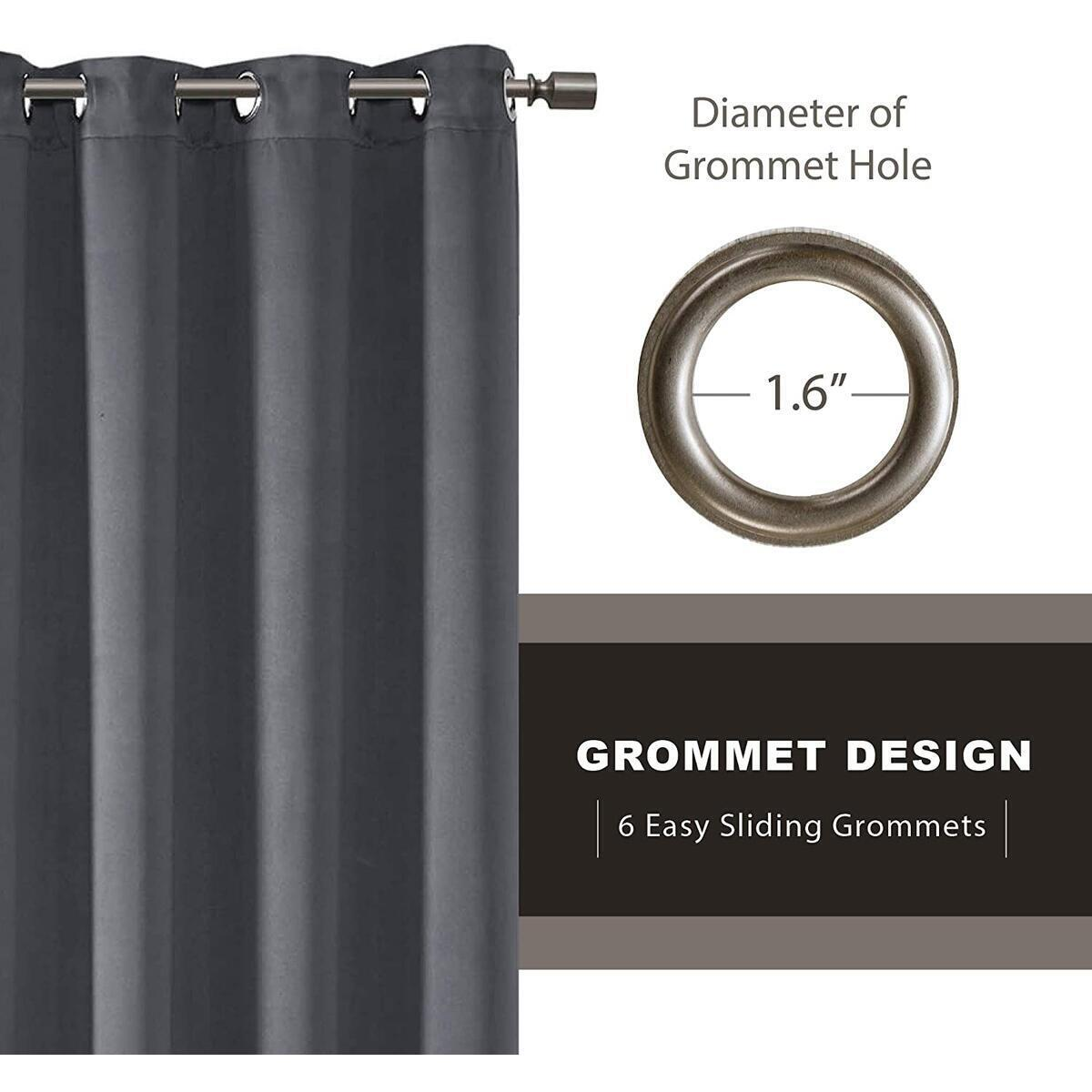 Blackout Curtains for Bedroom | Thermal Insulated Room Darkening Window Treatments W/Grommet Top | Triple Weave | Ideal for Nursery Or Kids Room | Charcoal 52x63-2 Panels