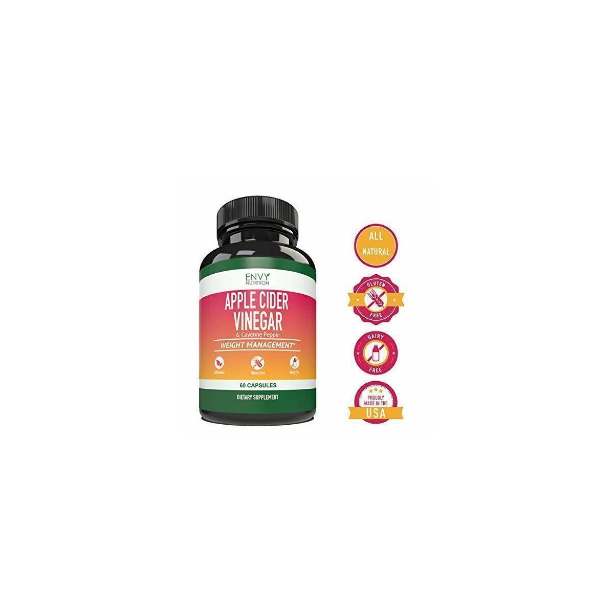 Envy Nutrition Apple Cider Vinegar Capsules- Supports Weight Loss, Immunity, Gut Health, Blood Sugar Level and Heart Health- 60 Count