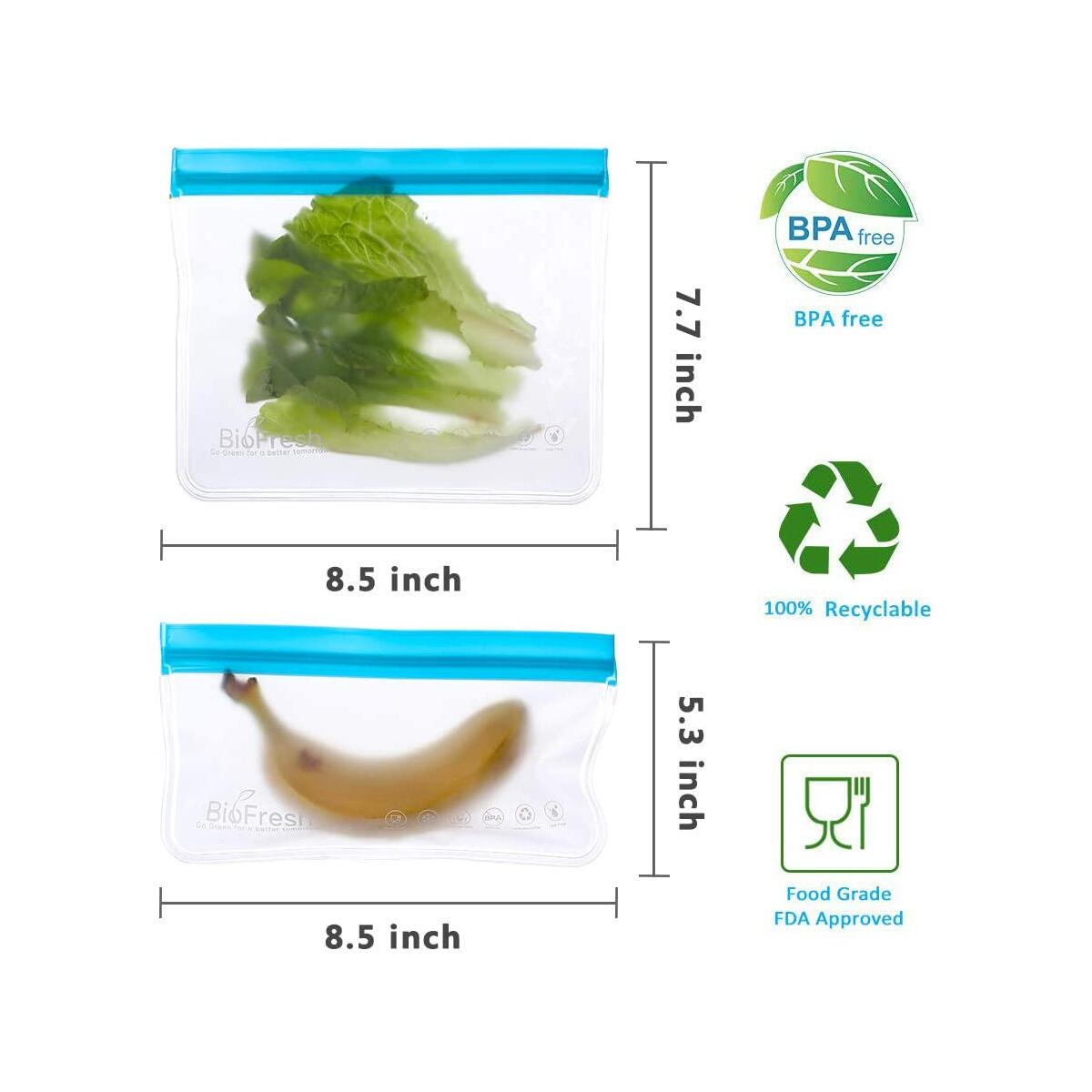 Reusable Snack Bags - 10 Pack BPA Free Freezer Bags(4 Reusable Snack Bags + 6 Reusable Sandwich Bags) Leakproof Silicone and Plastic Free PEVA Bags For Snack Meat Sandwich Lunch Food Travel