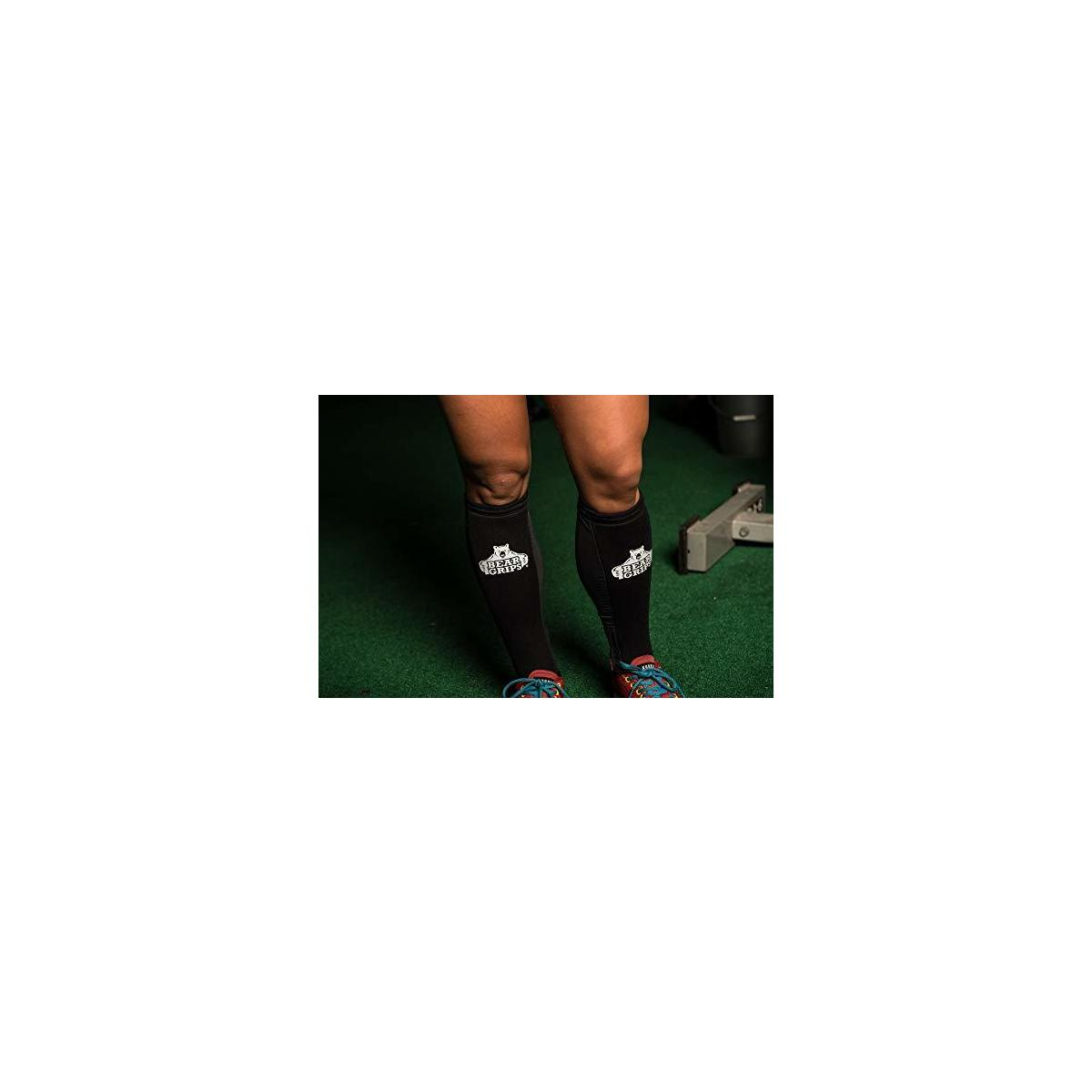 Bear Grips  Shin Guards Sleeves. with 5mm of Padded Leg Protection. for Crossfit, Rope Climbing, Deadlifting. Color Black, PAIR