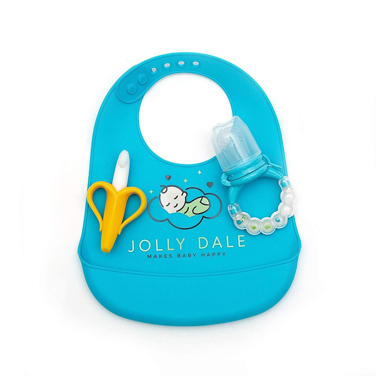 Jolly Dale Baby Teething & Feeding Set with Silicone Baby Bucket Bib, Baby Banana Teether & Baby Mesh Food Feeder Pacifier - Soft, Food-Grade Silicone - Perfect Teether Kit for Babies & Toddlers