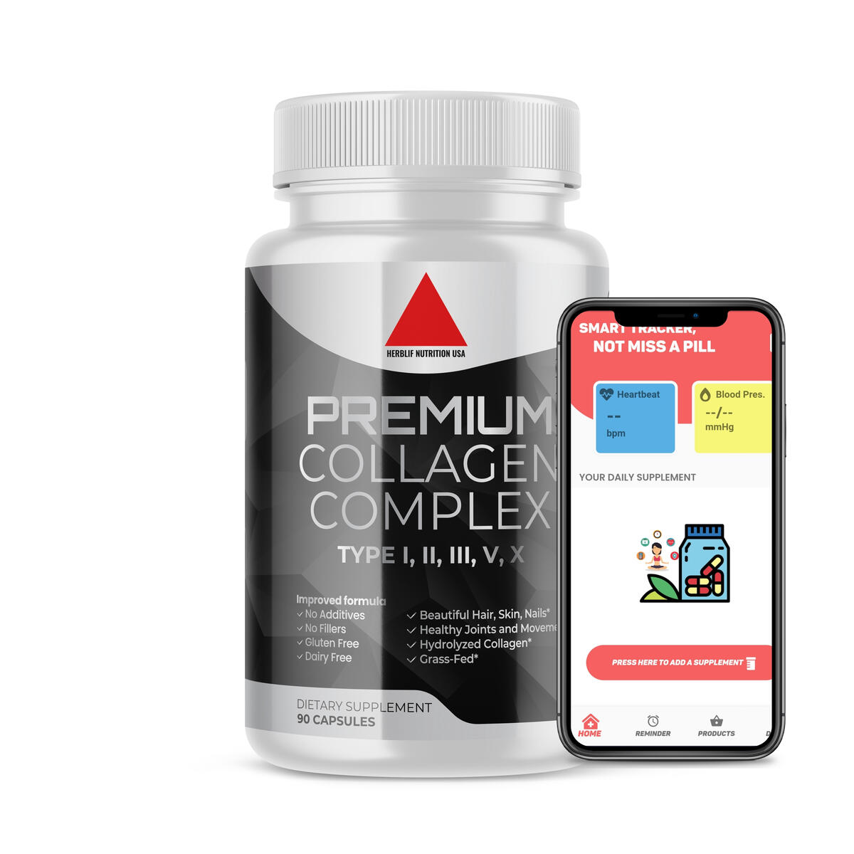 Multi Collagen Pills (Types I, II, III, V, X) - Premium Hydrolyzed Collagen Peptides Protein Supplement - Supports Hair, Skin, Nails, Joints, Aging - Non-GMO - 90 Capsules