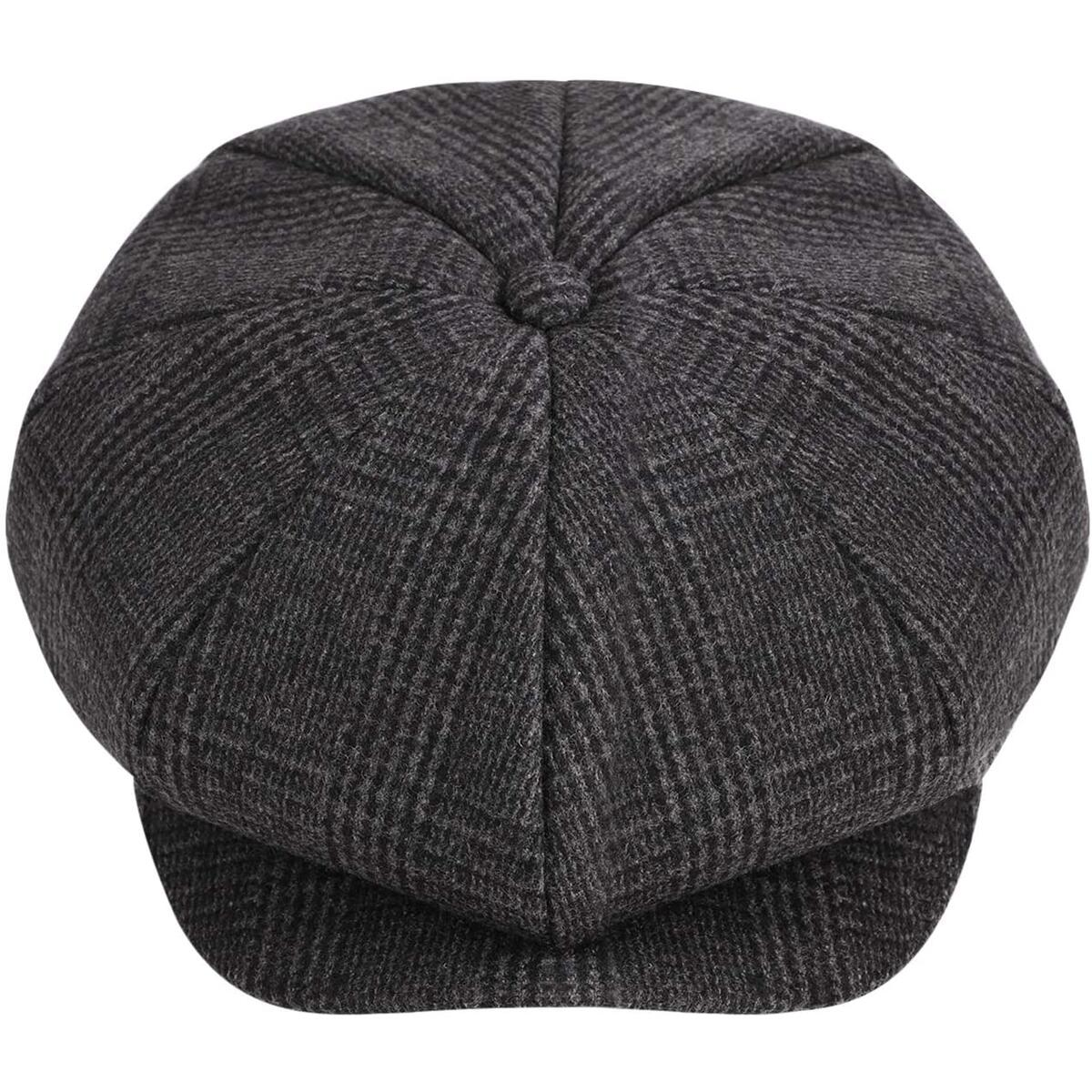 Men's Newsboy Cap Gatsby Hat Wool Blend French Cabbie Hat Beret Hat Fedora Gray