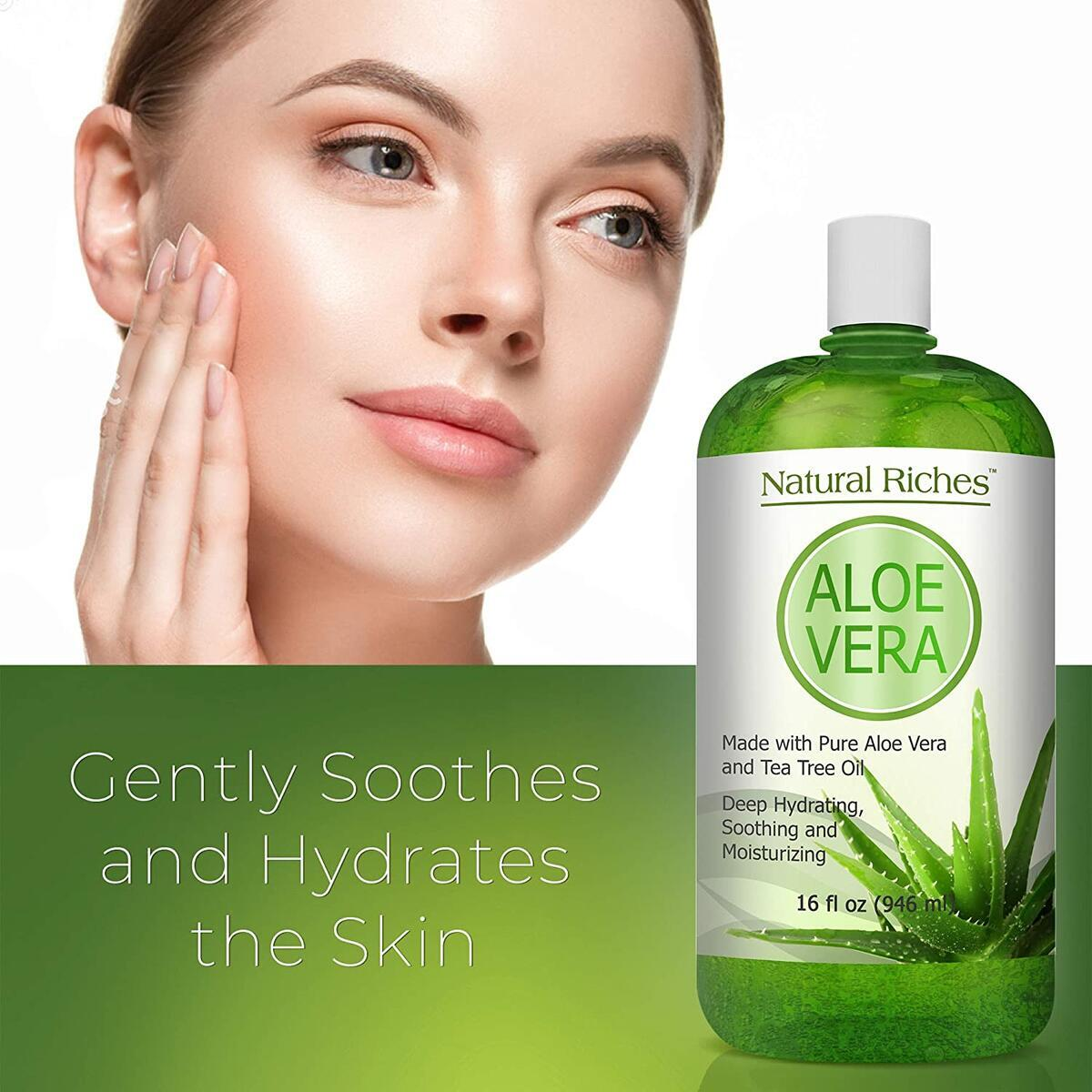 Natural Riches Pure Aloe Vera Gel Lotion- for Face & Dry Skin Helps with Cold Sores, Scars, Bug Bites, Sunburn Relief, Razor Rash, Bumps, Excellent DIY Body Lotion Skincare