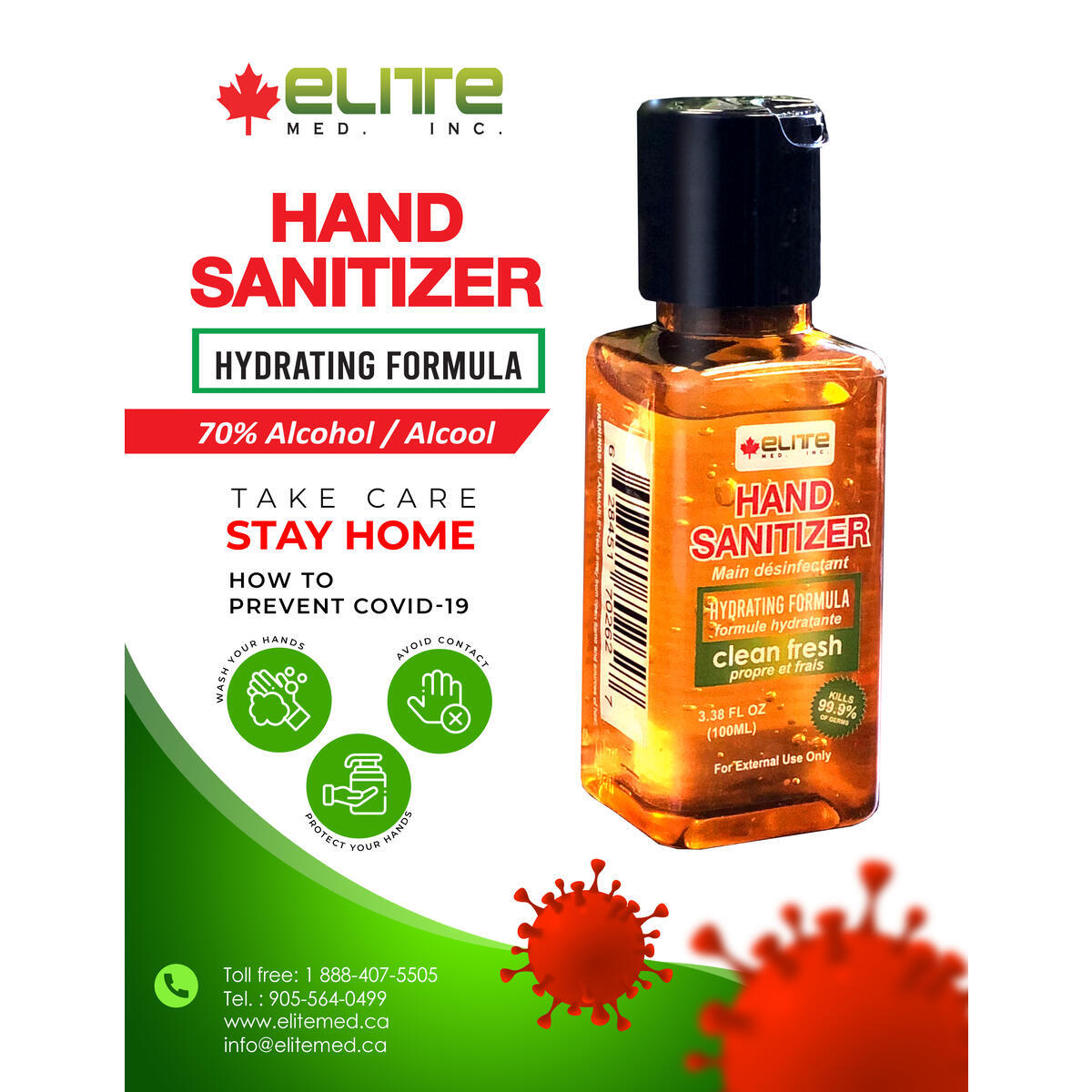 ELITEMED Hand Sanitizer 100 ml Made In Canada - (Pack of 9)