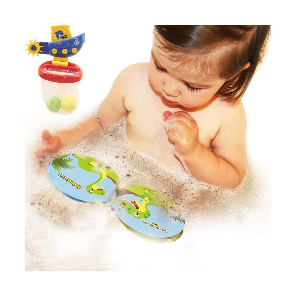 Baby Bath Toy Toddler Basketball Hoop Floating Baby Bath Books for Kids Bathroom Shooting Game Slam Dunk Bathtub with Strong Suction Cup,Toddler Learning Bath Toys for Kid Boy Girl Child Gift