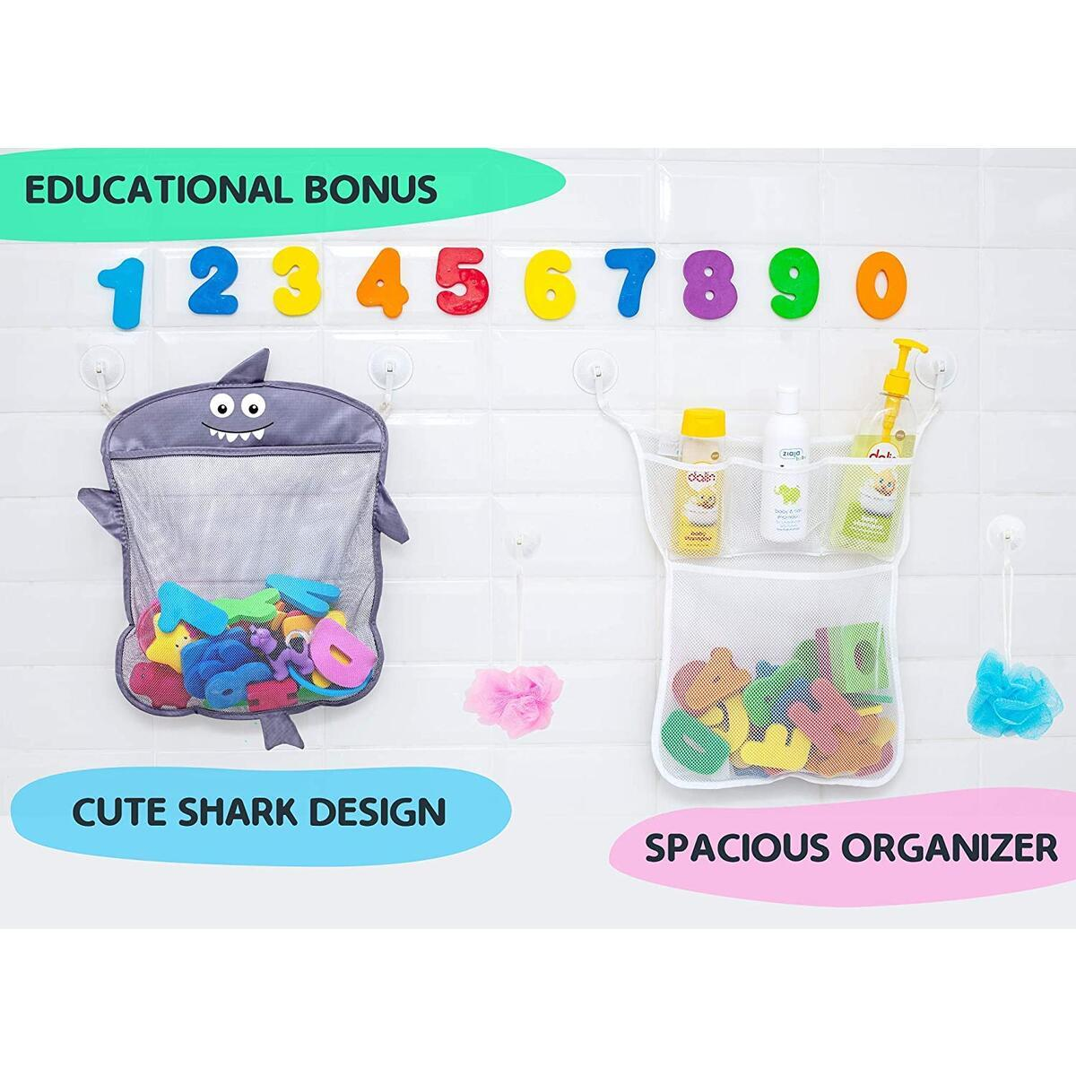 Comfylife Baby Bath Toy Organizer - Shark (2 Bath Toy Storage Nets, 8 Toy Numbers & 10 Strong Hooks)