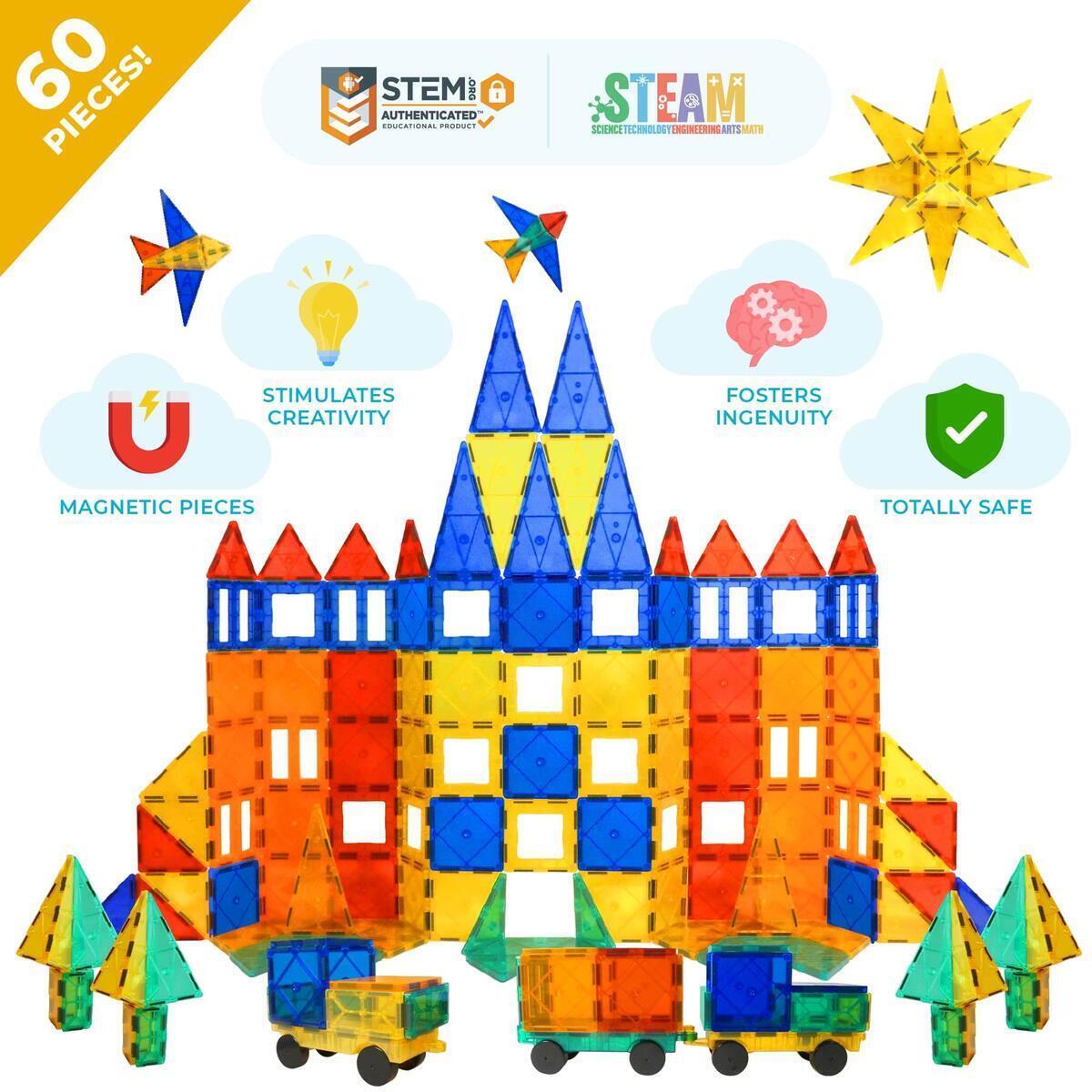Tytan Magnetic Tiles & Building Toys - STEM Certified Blocks, Magnets for Kids/Boys/Girls Fun, Creative, Educational - 60 Piece Set