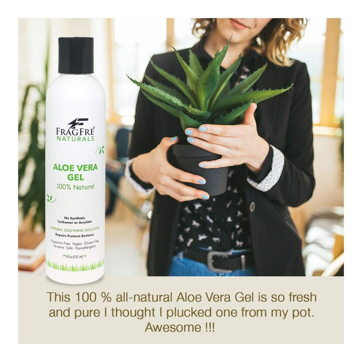 FRAGFRE All-Natural Aloe Vera Gel 8 oz - No Synthetic Carbomer or Acrylate - 100% Natural Aloe Vera Soothing Gel - After Sun Exposure Skin Care - Fragrance Free Vegan Gluten Free