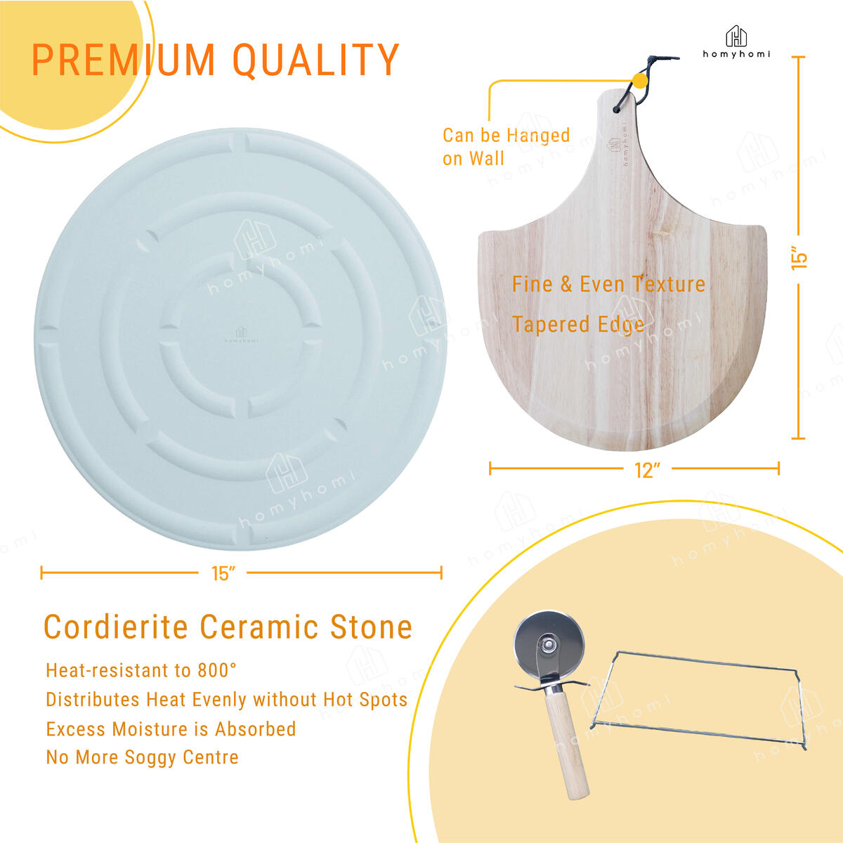 "Homyhomi Ultimate Pizza Making Kits Set of 4,Classic 15"" Round Cordierite Ceramic Pizza Stone for Oven,Wooden Peel Serving as Ham & Cheese Board,Multi-Use Baking Pizza/Cookie/Bread in Oven or Grill"