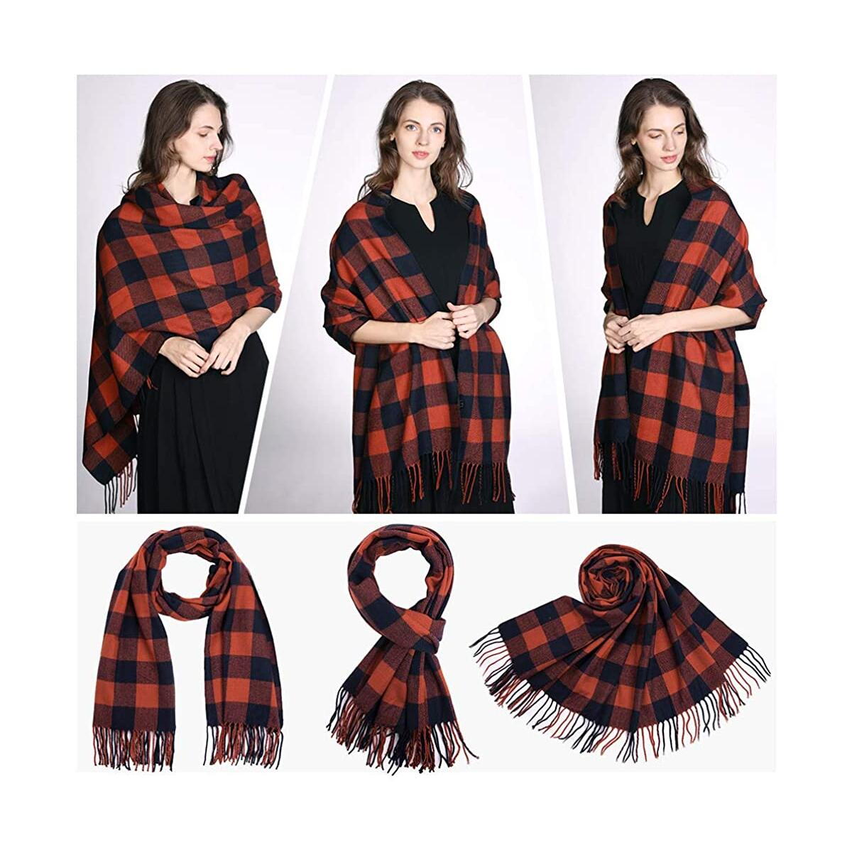 Womens Warm Cozy Cashmere Feel Winter Scarf for Women Soft Woven Scarves Plaid Pattern Orange/Navy