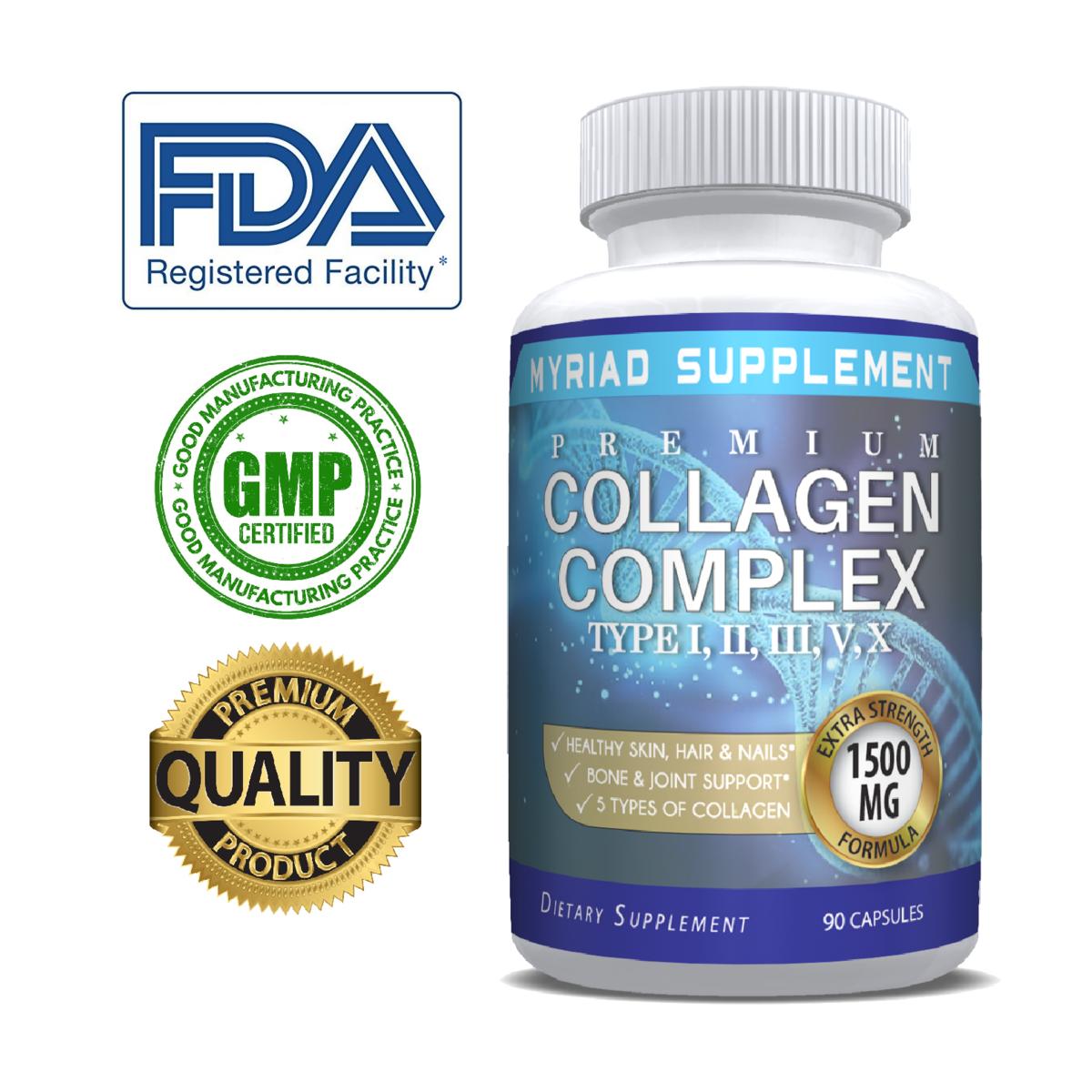 Premium Collagen Peptides Pills Hydrolyzed Anti-Aging (Types I,II,III,V,X)