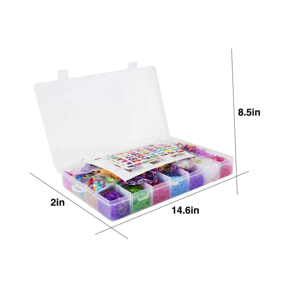 HANMUN 12000+ Pcs Rainbow Rubber Bands Bracelet Making Kit with Loom Bands Storage Container. Great Gifts for Girls and Boys ( Limiteless Different Rubber Bands Beads Stickers Kits ) …