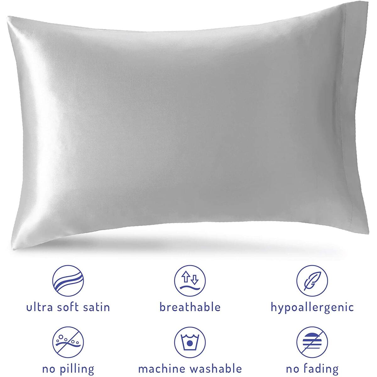 Silky Satin Pillow Cases Set of 2 | Satin Pillowcase for Hair And Skin | Silver Grey, Queen Pillow Cases, 20 x 30 Inch – Reduce Skin Irritation & Frizzy Hair | Retains Color in Easy Machine Wash & Dry