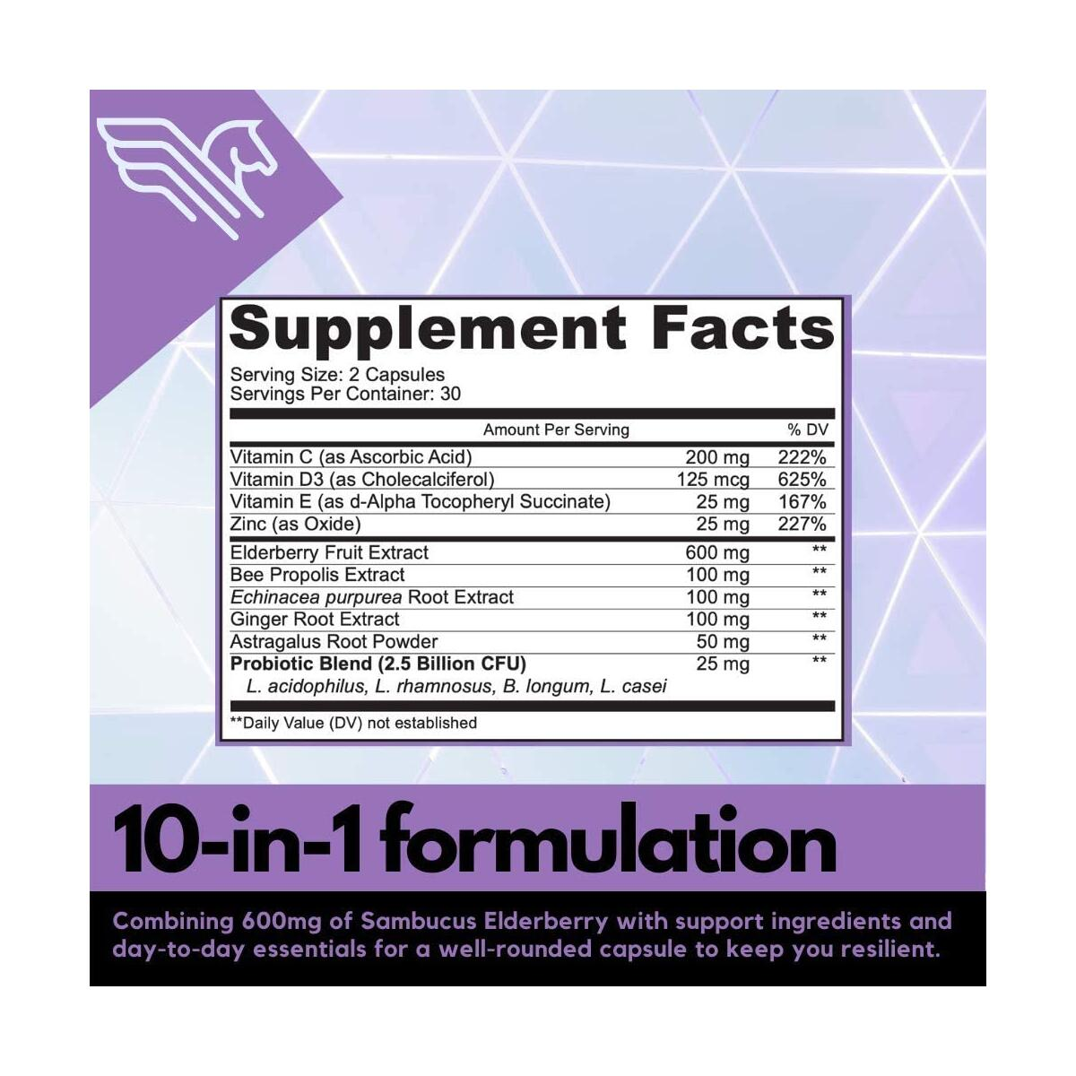 Immunity Support Supplement with Elderberry, Vitamin C and Zinc – 10-in-1 Immune Booster Capsules