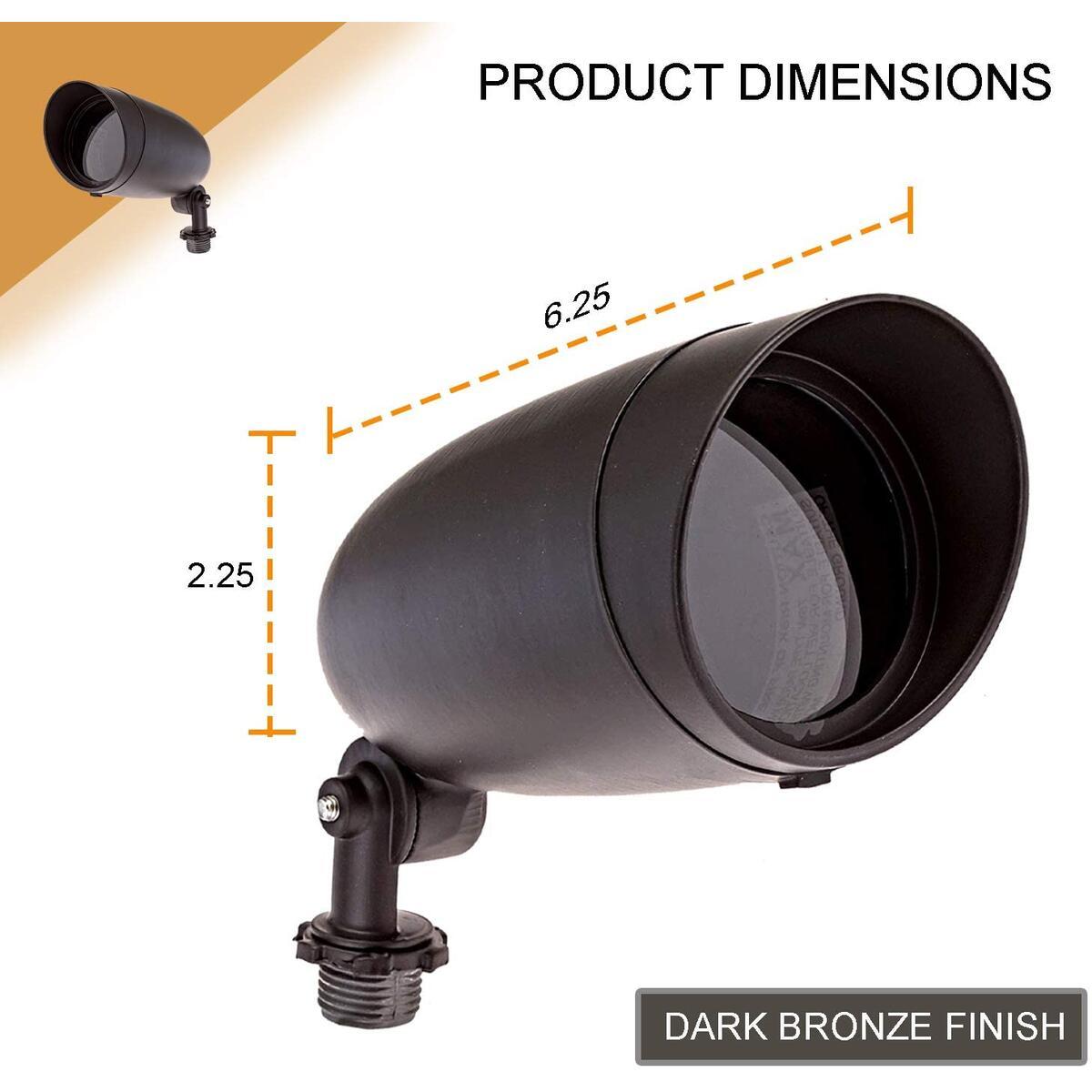 Dysmio Lighting One Light PAR20 120 Volt Die Cast Aluminum Durable Outdoor Landscape Security Lighting Flood, Dark Bronze