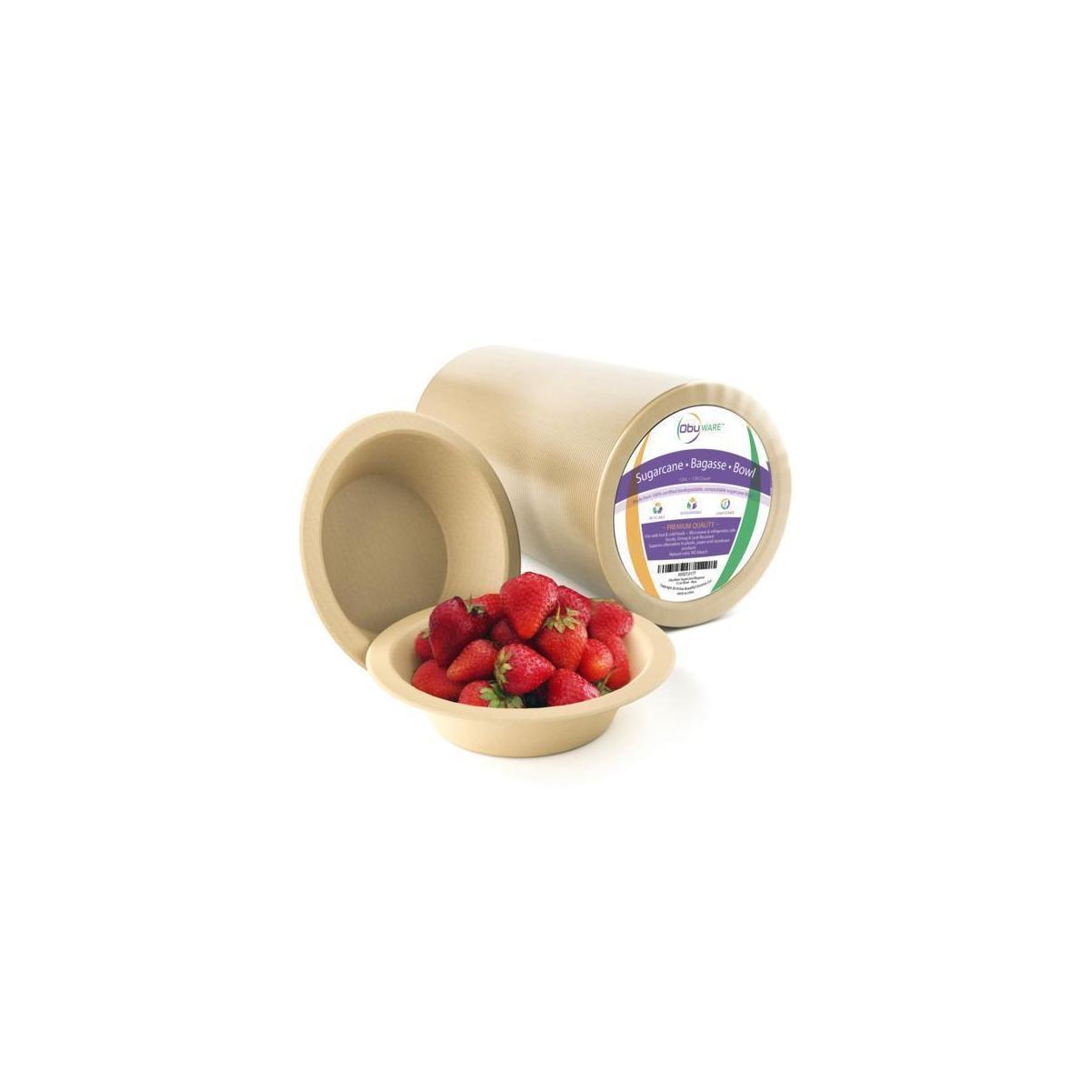 ObuWare Premium Biodegradable Compostable Bagasse Bowls (130pcs 12oz) Eco-Friendly All Natural Sugarcane Fiber | Classy High-End, No Leaks | Holds Hot, Cold & Liquid Food | Microwave & Freezer Safe