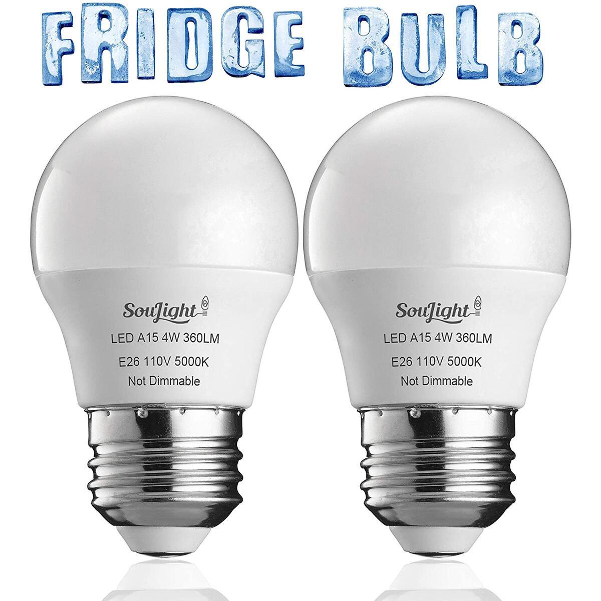 Refrigerator Light Bulb LED - SMD A15 4W 40Watt Equivalent - Waterproof E26 Base - 5000K Daylight White - 360 Lumen - Energy Saving – 40W Led Appliance Bulb - Replacement Bulbs - 2 Pack.