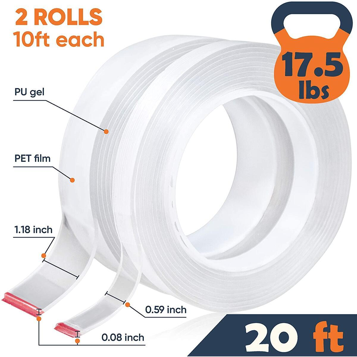 GLUIT-Nano Tape | Multipurpose Double Sided Tape Heavy Duty | Reusable Adhesive Tape 20FT | Removable Washable and Eco Friendly PU Gel for Home Office Car | Upgraded Quality - 2020 (2 Rolls/20FT/6M)