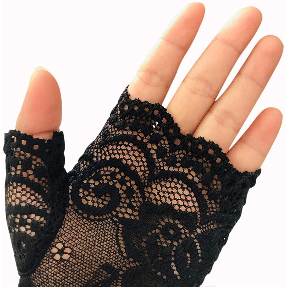 Women Short Lace Gloves Sunblock Fingerless Bridal Wrist Floral Gloves Opera Evening Party Wedding Tea Party Prom Cosplay 1920s Gloves for Ladies and Girls, Black