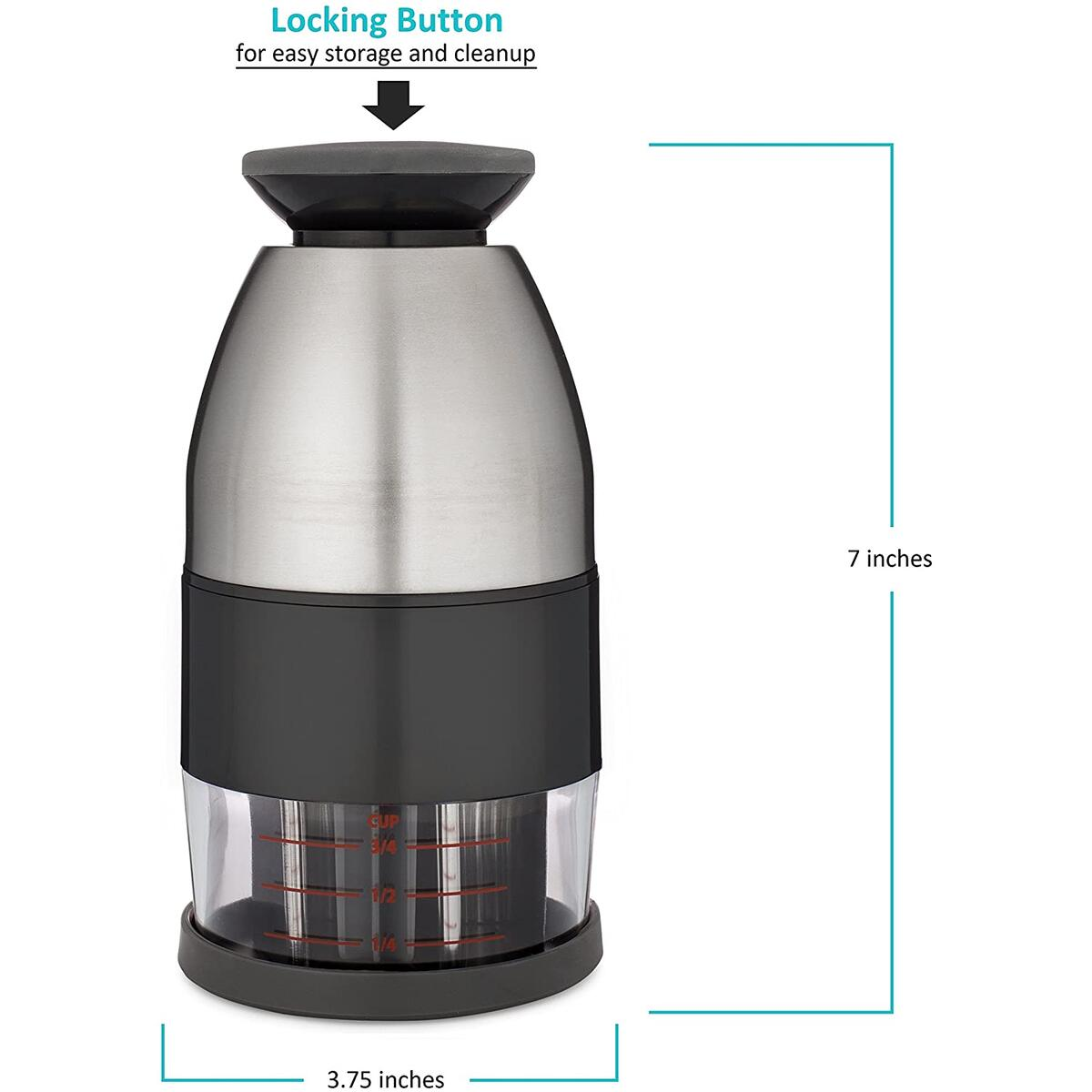 Limit 1 per Amazon  Account - Vivaant Food Chopper - Manual Slicer Dicer Mincer - Time Saver For Vegetables Salads Onions Garlic Nuts And More - Stainless Steel Commercial Quality With Easy-Clean Design