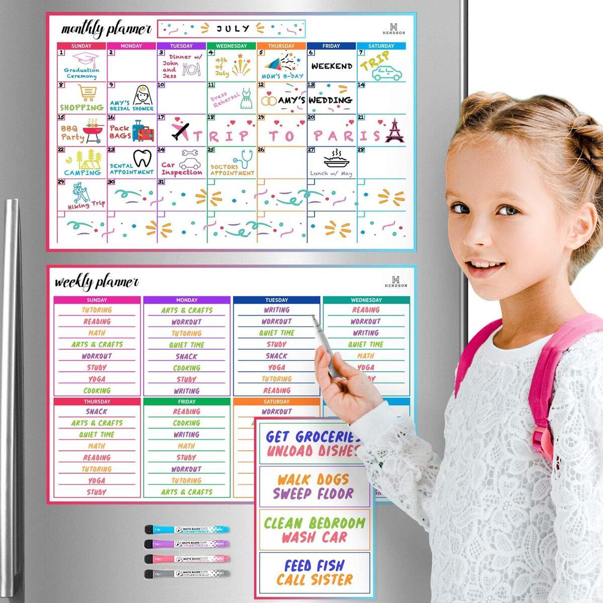 Magnetic Dry Erase Calendar Whiteboard - Set of 3 Magnetic Calendars for Refrigerator: Monthly Planner (11