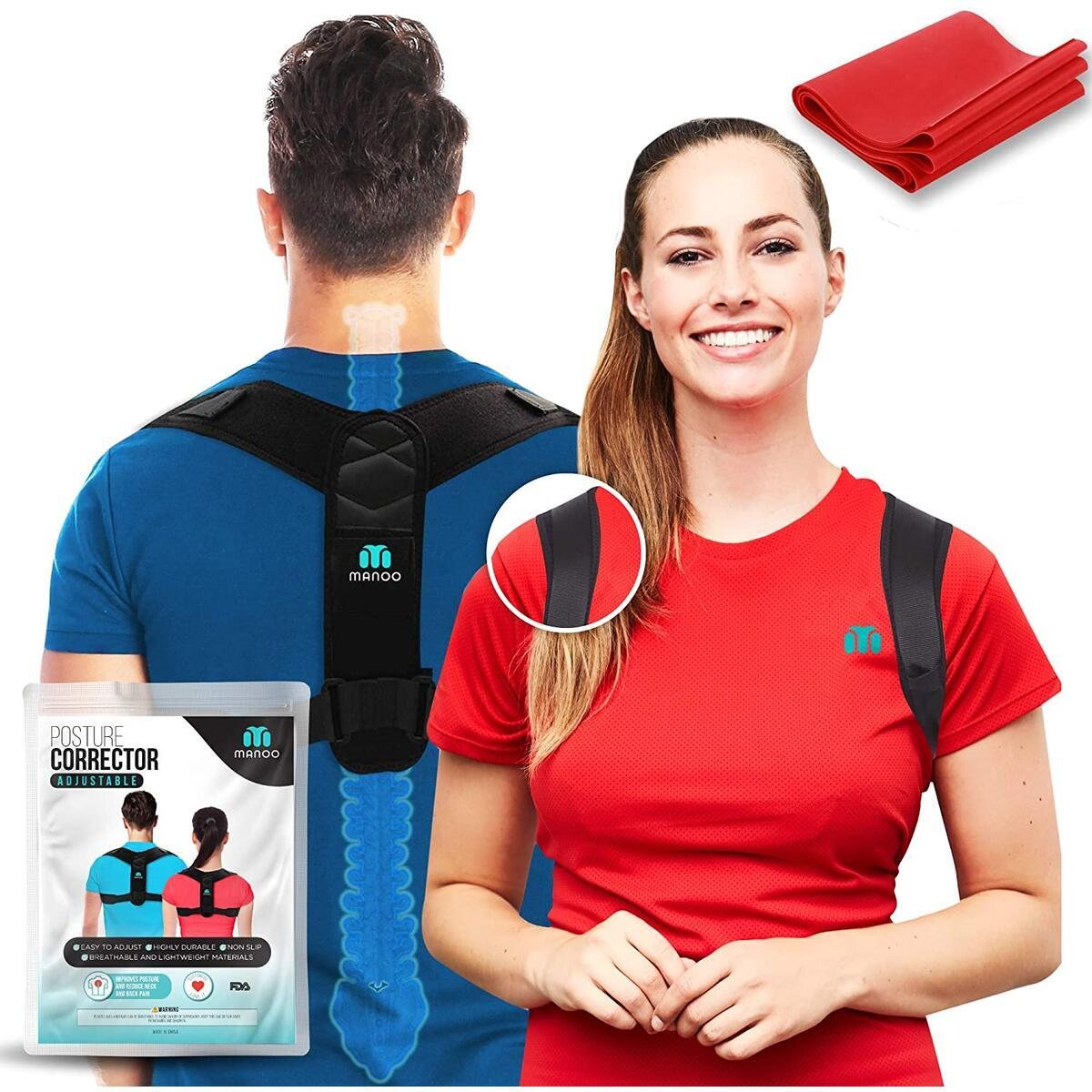 Posture Corrector for Men and Women - Upper Back Support Brace - Adjustable Back Straightener - Discreet Under Clothes