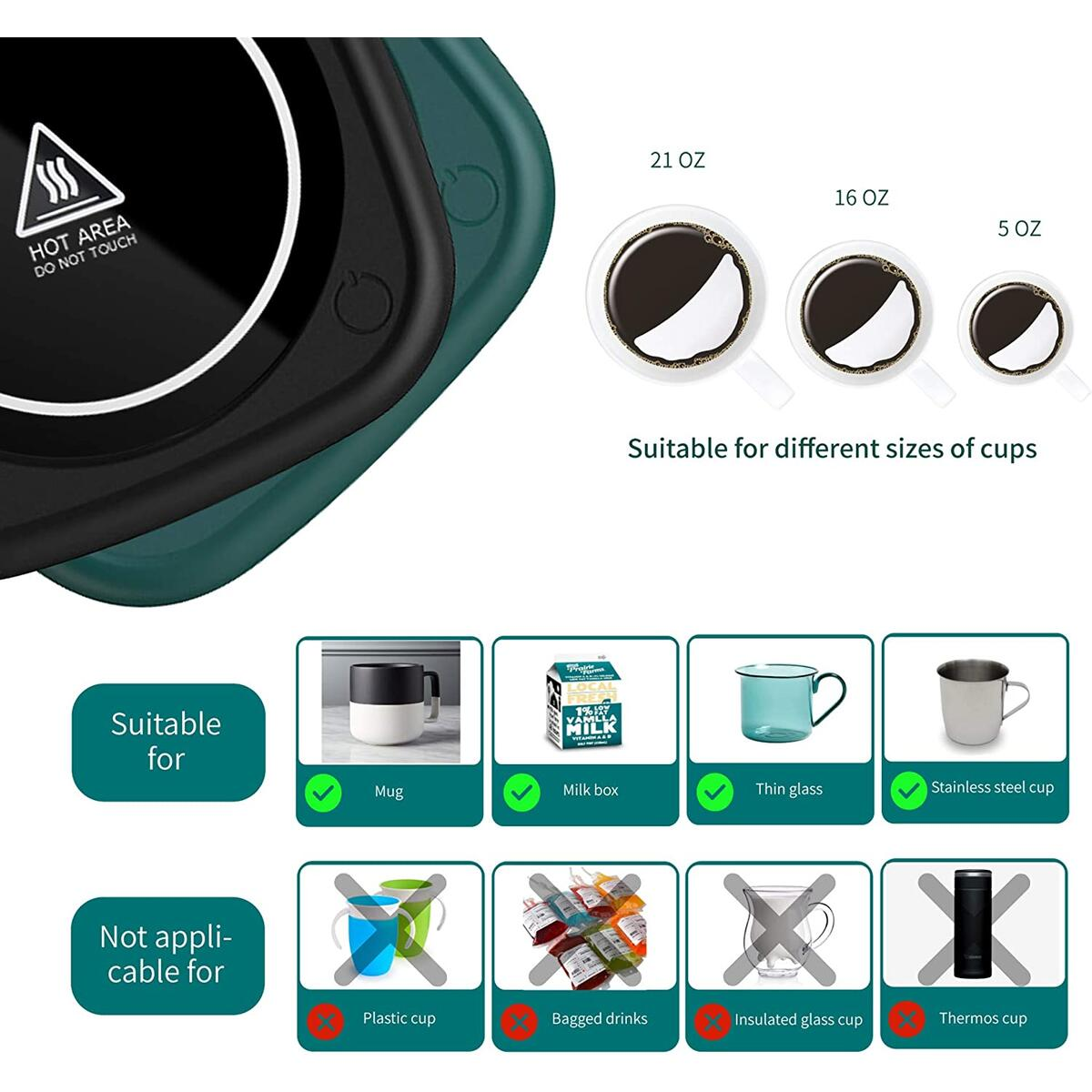 Coffee Warmer for Desk Mug Warmer Auto Shut Off Induction Electric Beverrage Warmer Cup Warmer Plate for Milk Tea