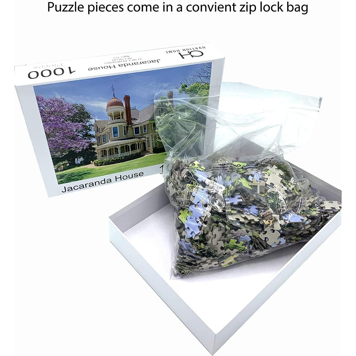 1000 Piece Jigsaw Puzzle - Jacaranda House - 28 x 20 Inch x 2mm Thick Puzzle for Adults and Children 12 and Older. Entertaining and Challenging Puzzle for Hours of Family Fun.