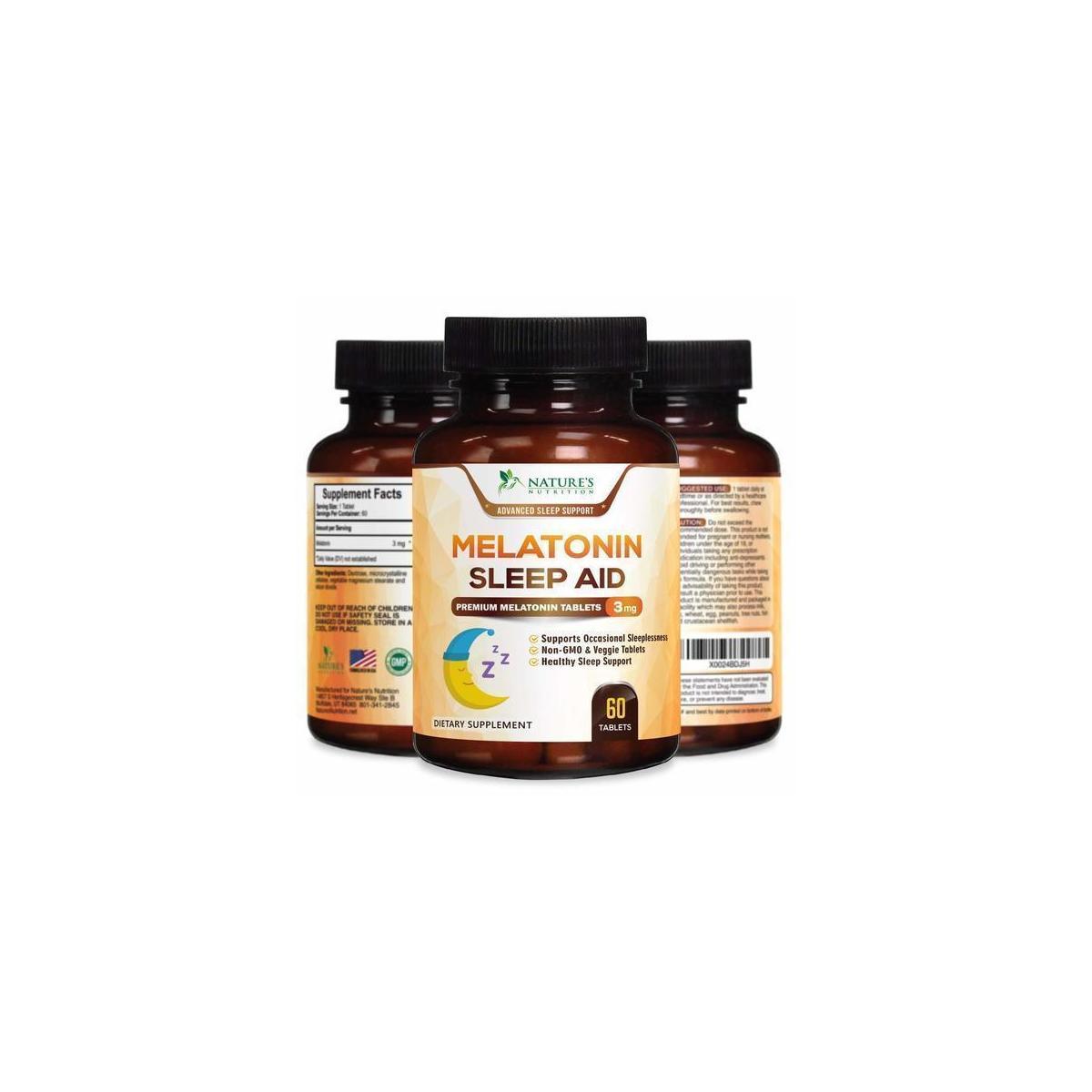 Melatonin Sleep Aid, Extra Strength Sleeping Pills 3mg - Fast Absorption Natural Sleeping Aid Supplement - Fall Asleep Faster & Sleep Longer, Chewable, Quick Dissolving, Drug-Free - 60 Tablets