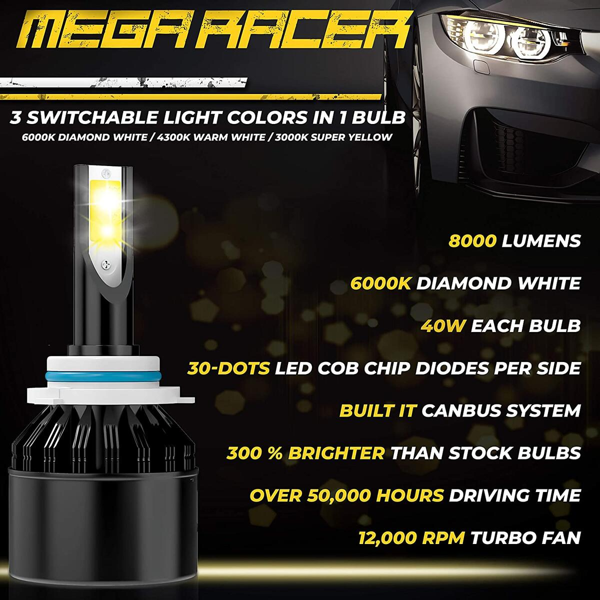 Mega Racer H10/HB3/9005 LED Headlight Bulbs, 3 Color Changing Lights (6000K Diamond White, 3000K Golden Yellow, 4300K Warm White) for High Beam/Low Beam/Fog Lights, 50W 8000 Lumens COB IP68, Pack of 2