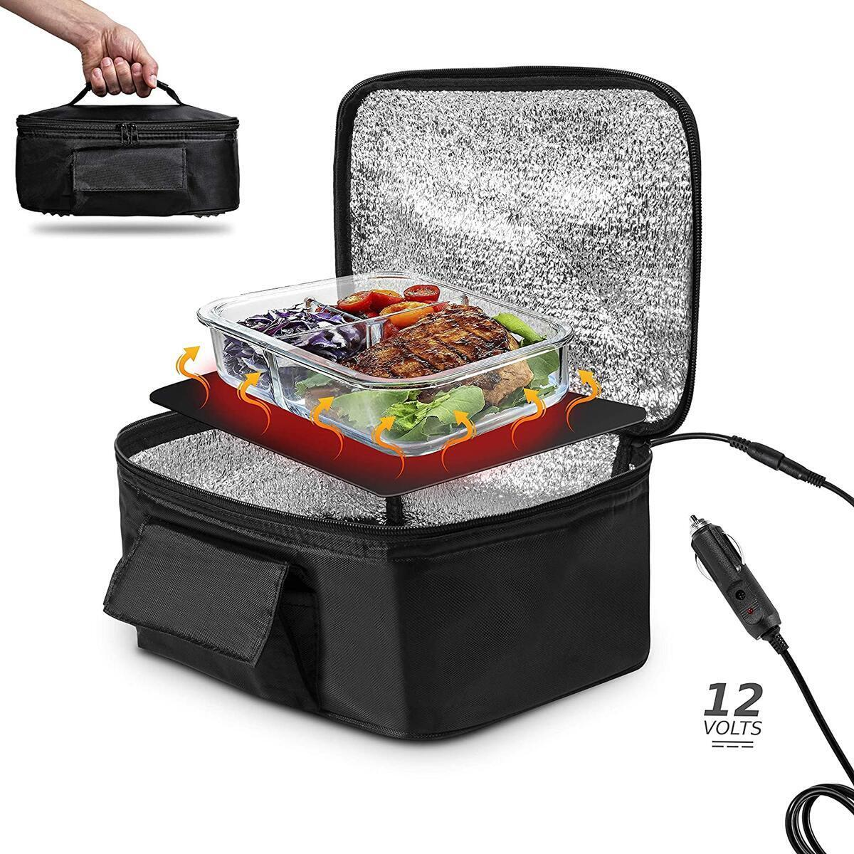 Zento Deals Electric Food Portable Oven Heating Lunch Box - 12V Warmer Lightweight Car Food Warmer, Personal Reheating & Raw Food Cooking Perfect for Office and Travel, Potlucks and Home Kitchen
