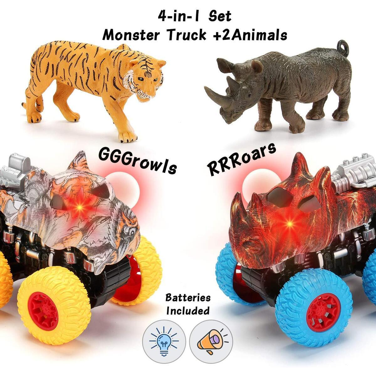 Monster Truck Toy Set | 2 Trucks + 2 Toy Animals | Tiger Truck and Rhinoceros Truck with Lights and Sounds – Mobius Friction Powered Push & Go Up to 30 Meters for Boys & Girls 2 3 4 5 6 7 8 Years Old