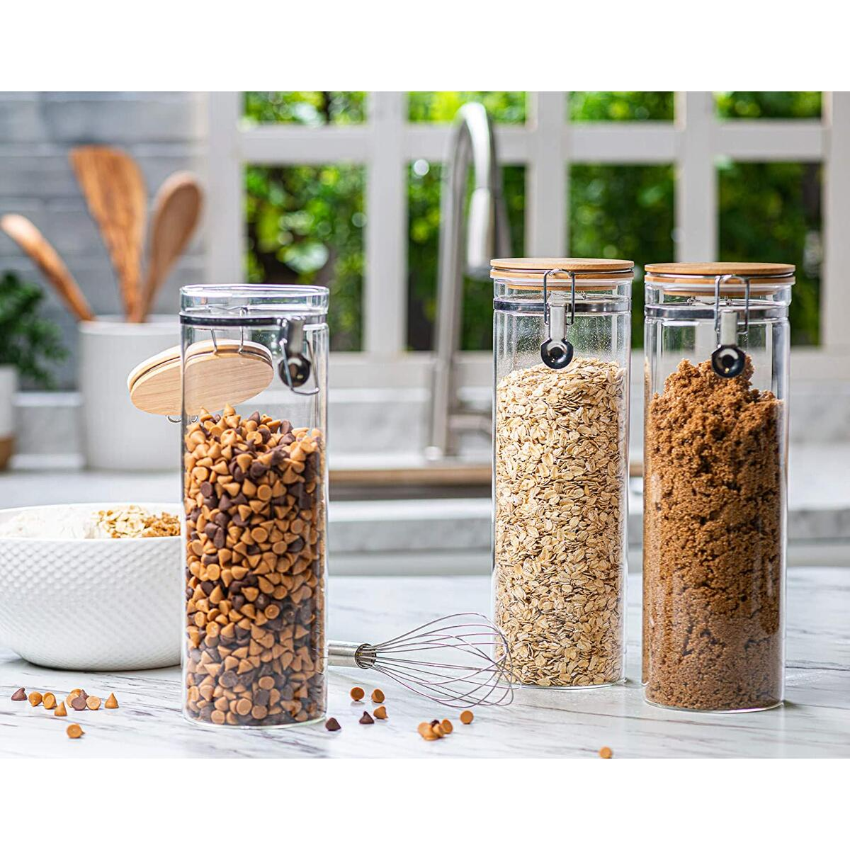 Set of 3 Tall Canisters, Glass Kitchen Canister with Airtight Bamboo Clamp Lid, Glass Storage Jars for Kitchen, Bathroom and Pantry Organization Ideal for Flour, Cereal, Sugar, Coffee, Candy and More…
